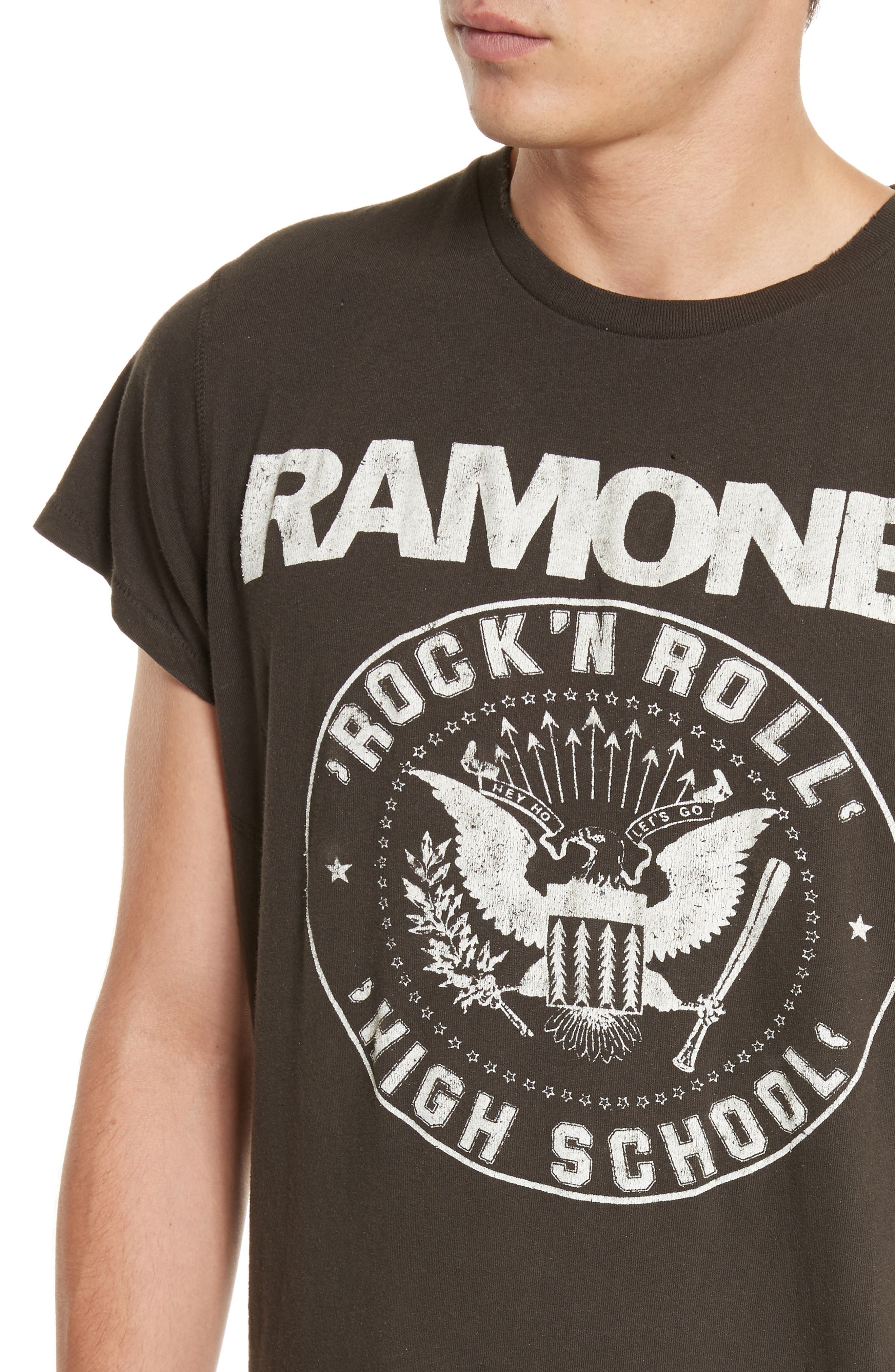 The Ramones Graphic T-Shirt,                             Alternate thumbnail 4, color,                             Dirty Black