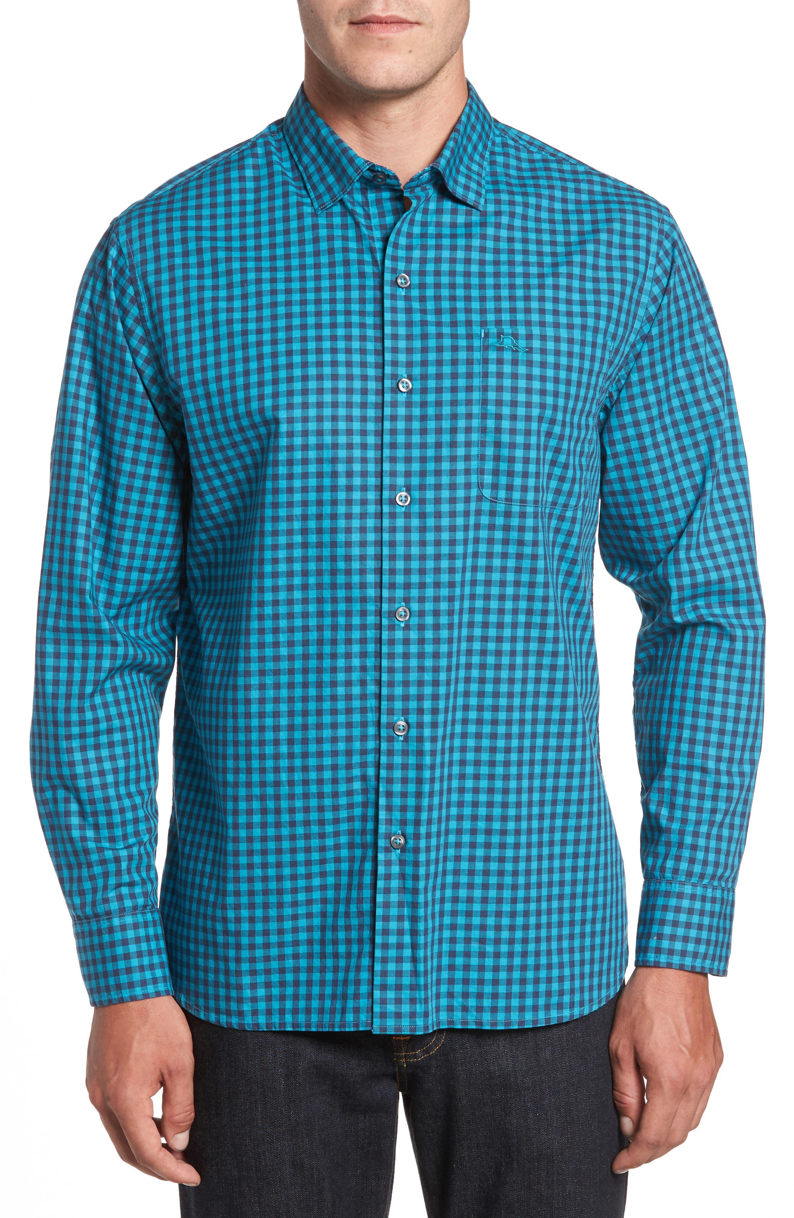 Mazagan Check Sport Shirt,                         Main,                         color, Riviera Azure