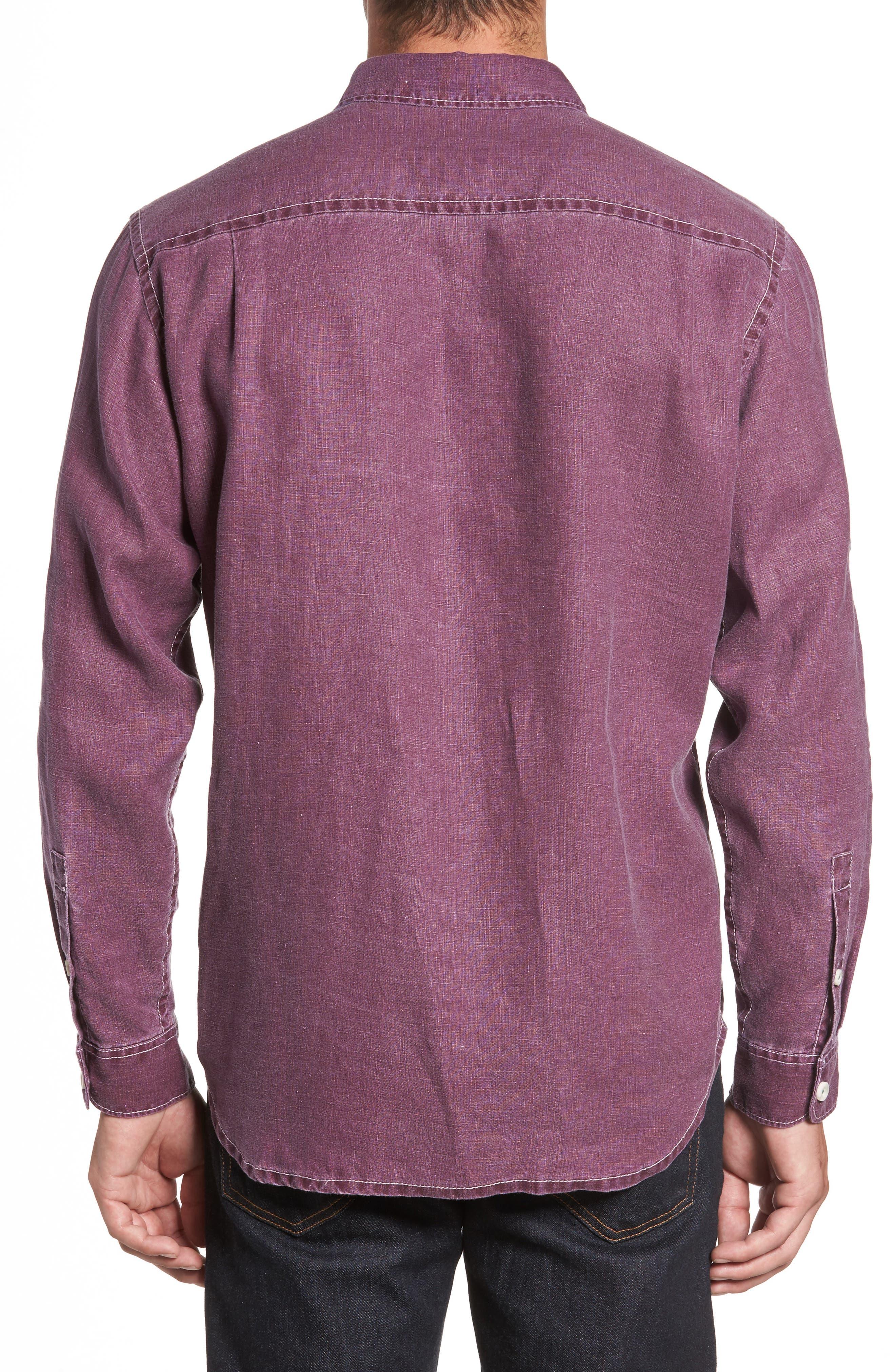 Sea Glass Breezer Linen Sport Shirt,                             Alternate thumbnail 2, color,                             Grape Wine