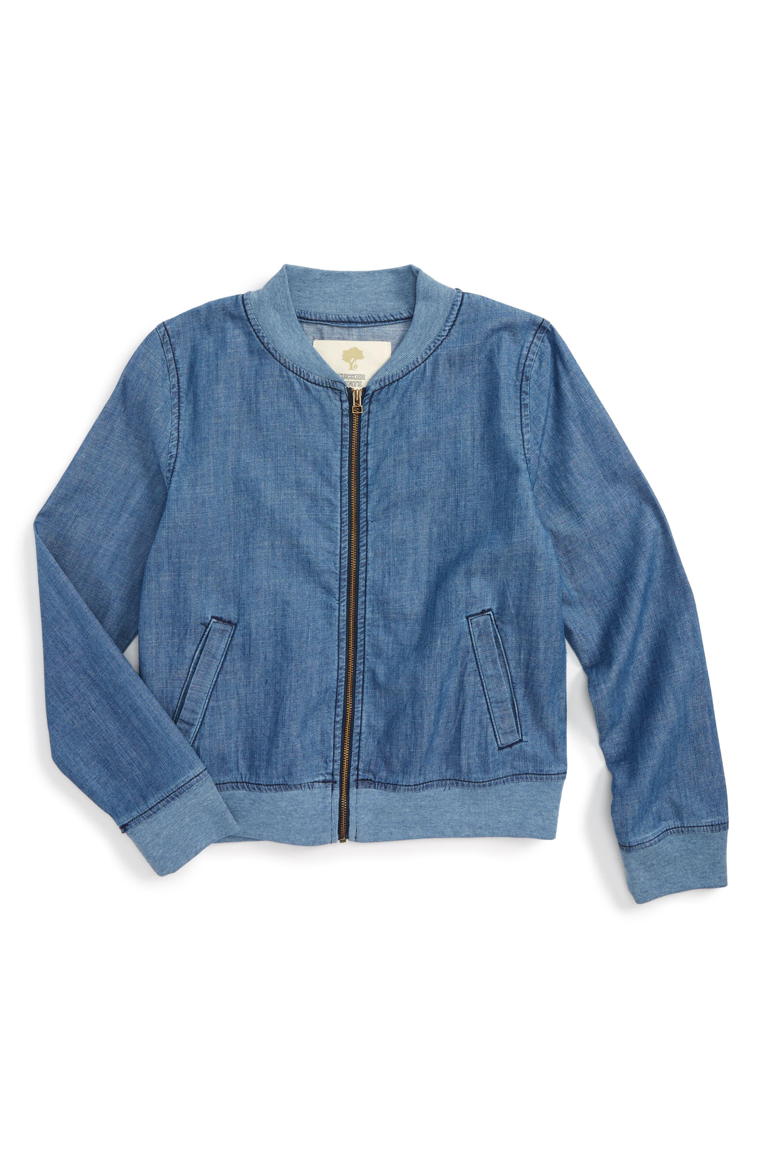 Denim Bomber Jacket,                             Main thumbnail 1, color,                             Dusk Blue Wash