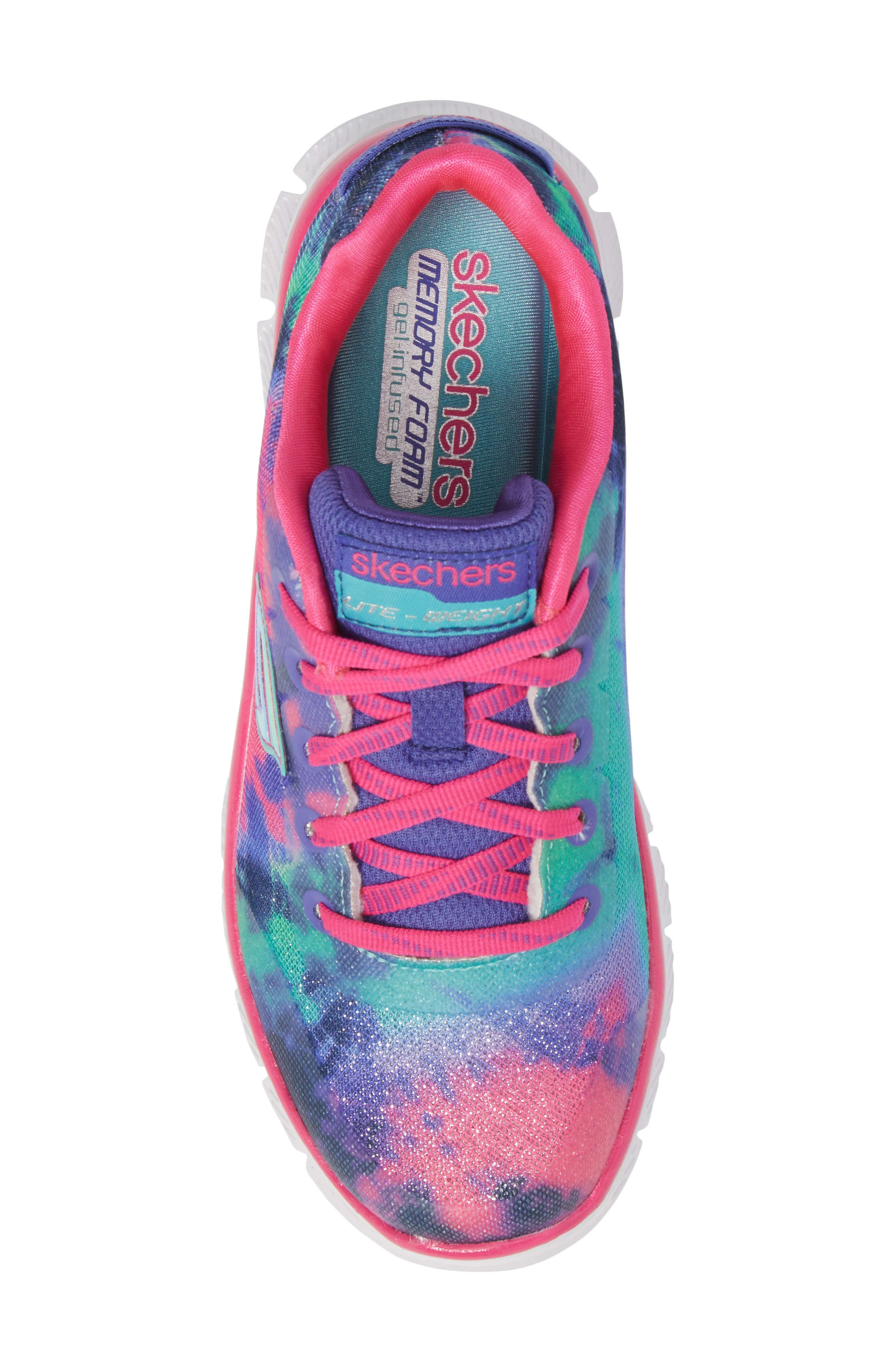 Skech Appeal Groove Thang Sneaker,                             Alternate thumbnail 5, color,                             Neon Pink/ Multi