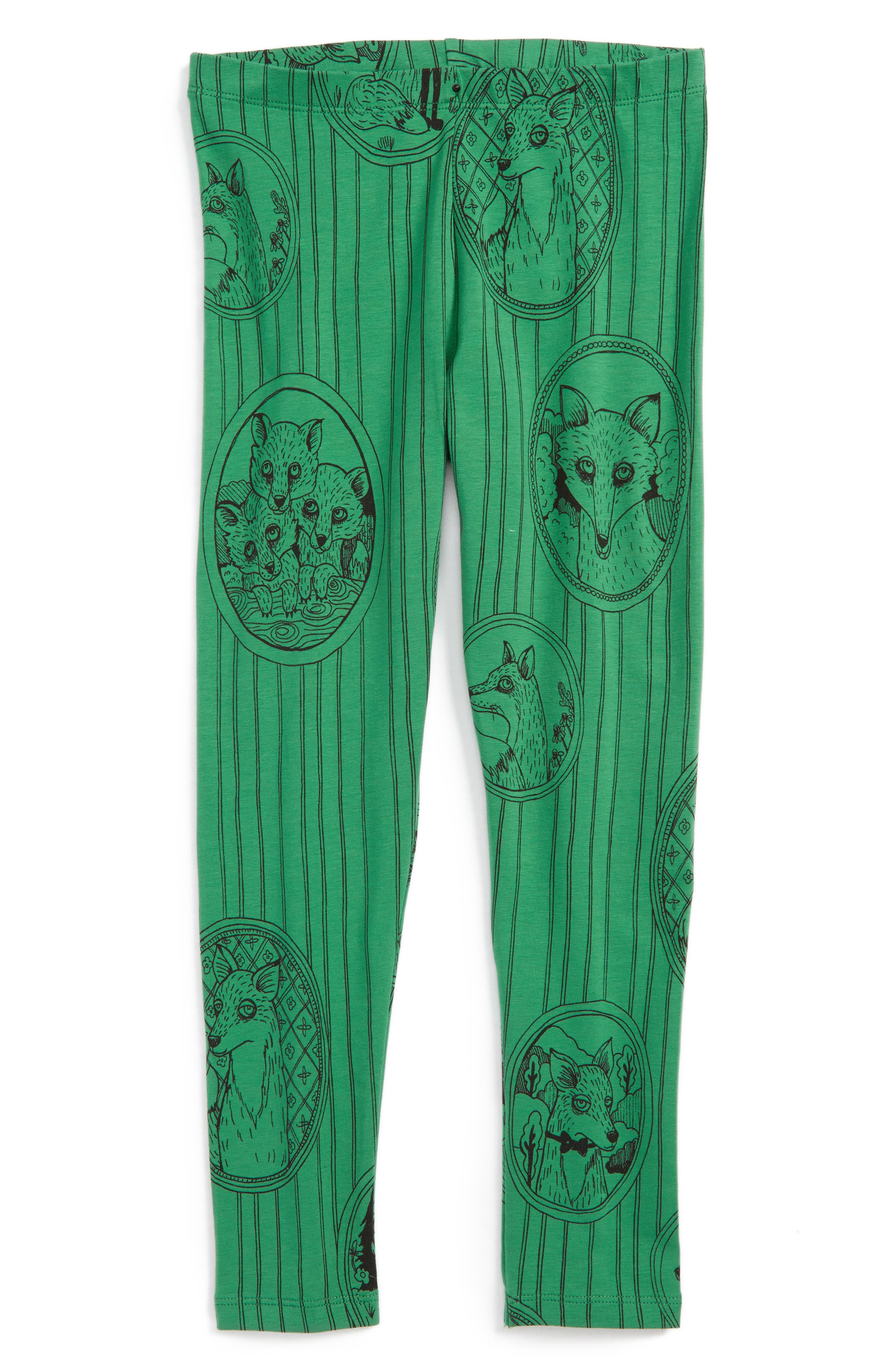 Fox Family Leggings,                         Main,                         color, Green