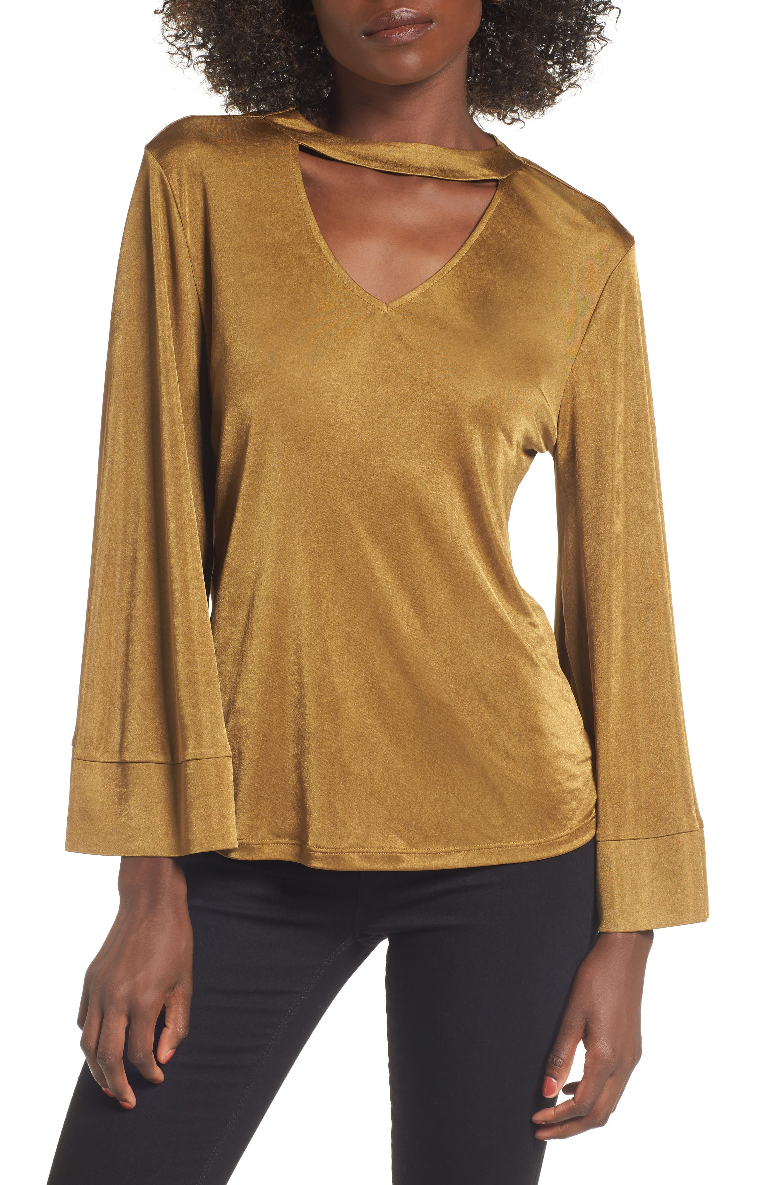 Choker Bell Sleeve Top,                         Main,                         color, Olive Palm