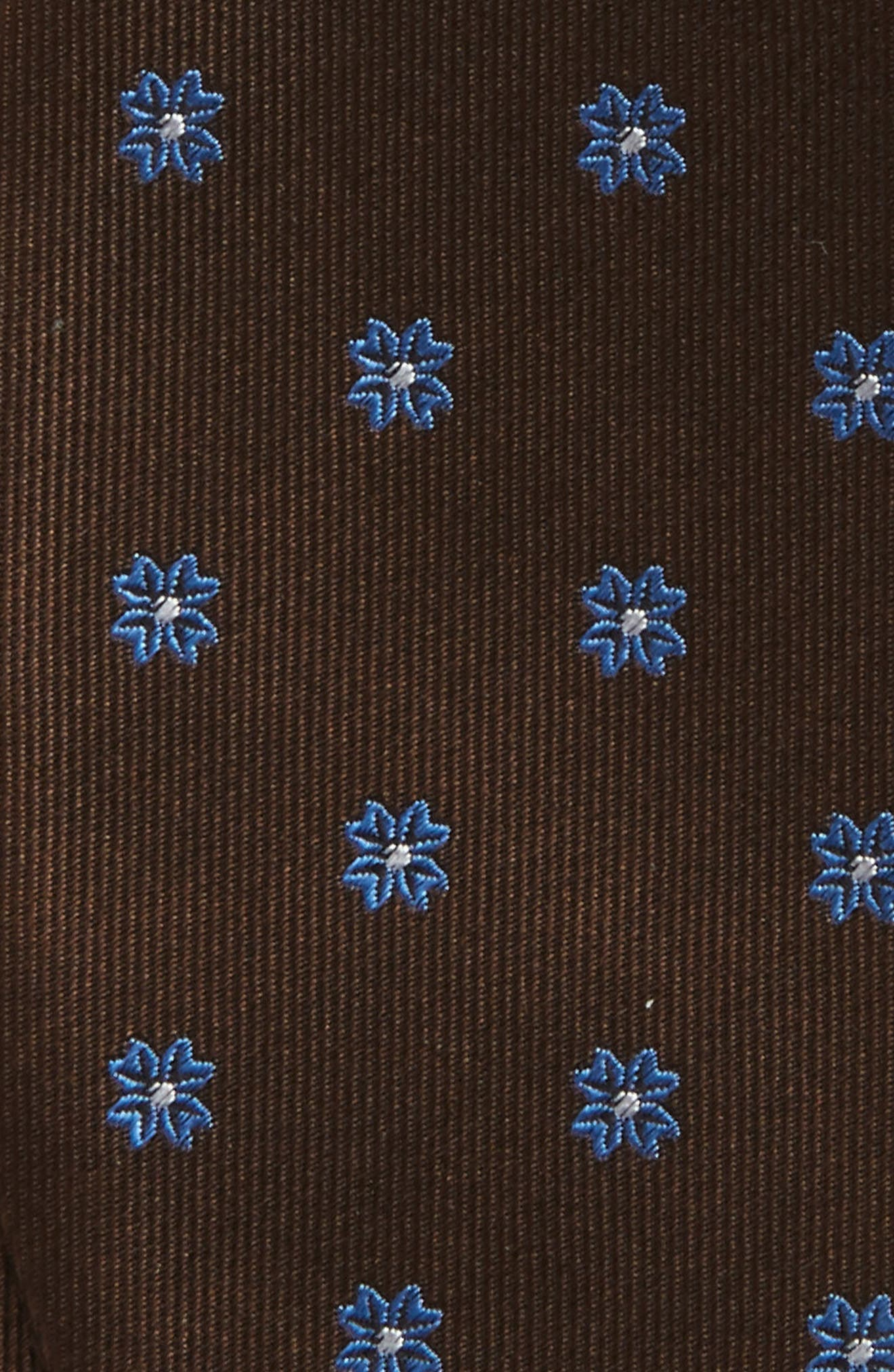 Floral Span Silk Bow Tie,                             Alternate thumbnail 3, color,                             Chocolate Brown