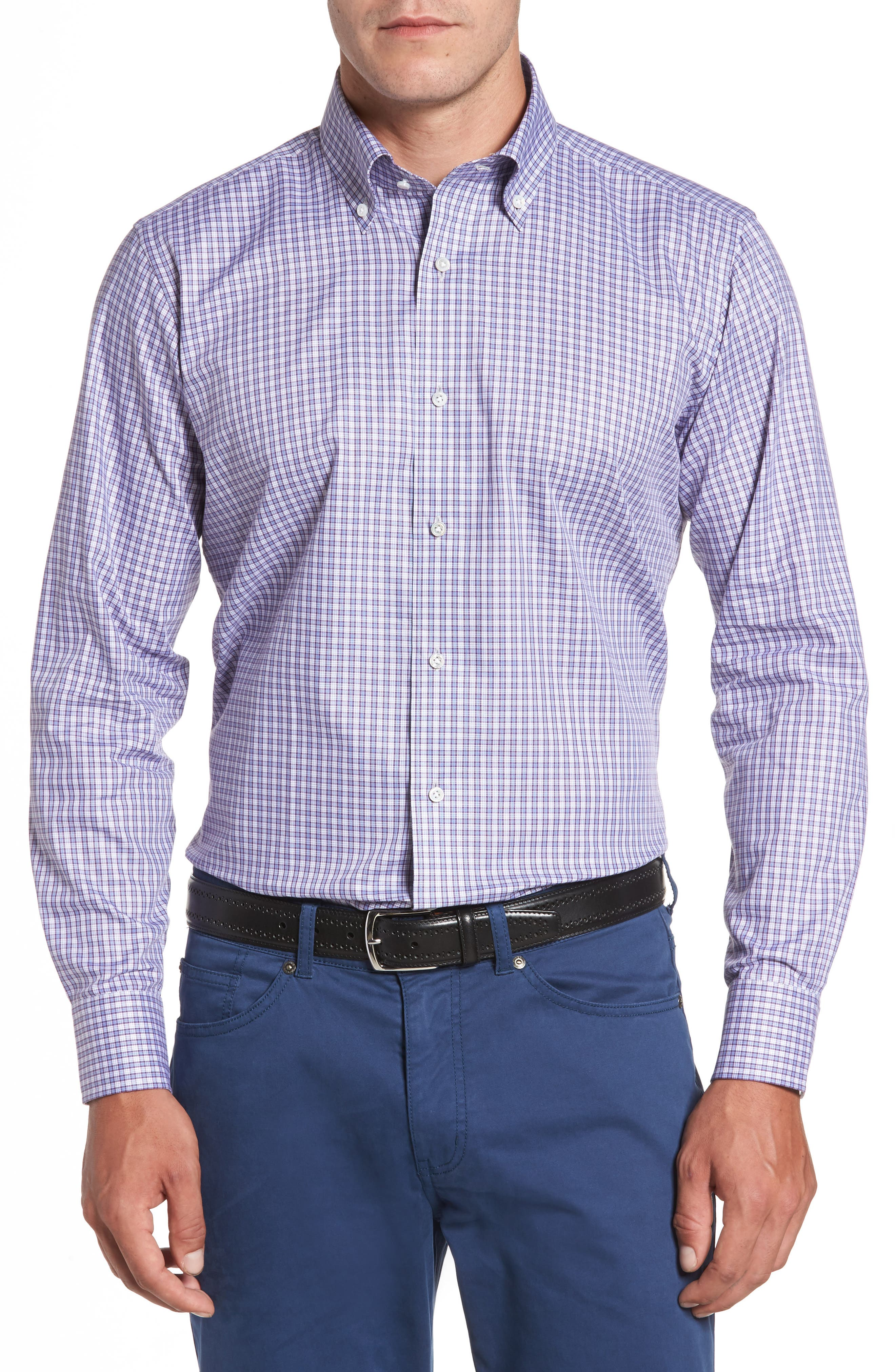 Peter Millar Overlook Microcheck Sport Shirt