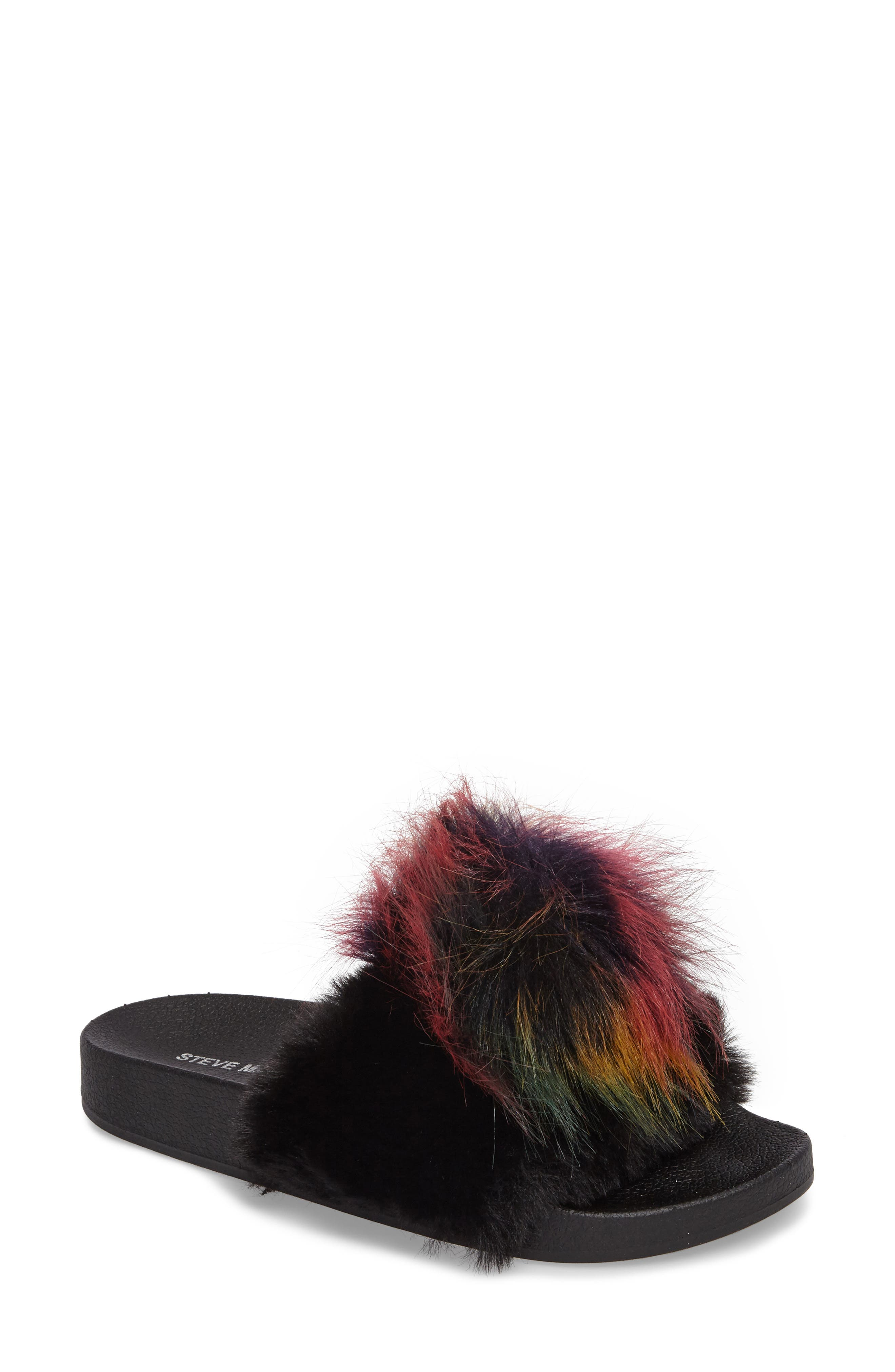 Spiral Faux Fur Slide Sandal,                             Main thumbnail 1, color,                             Black Multi