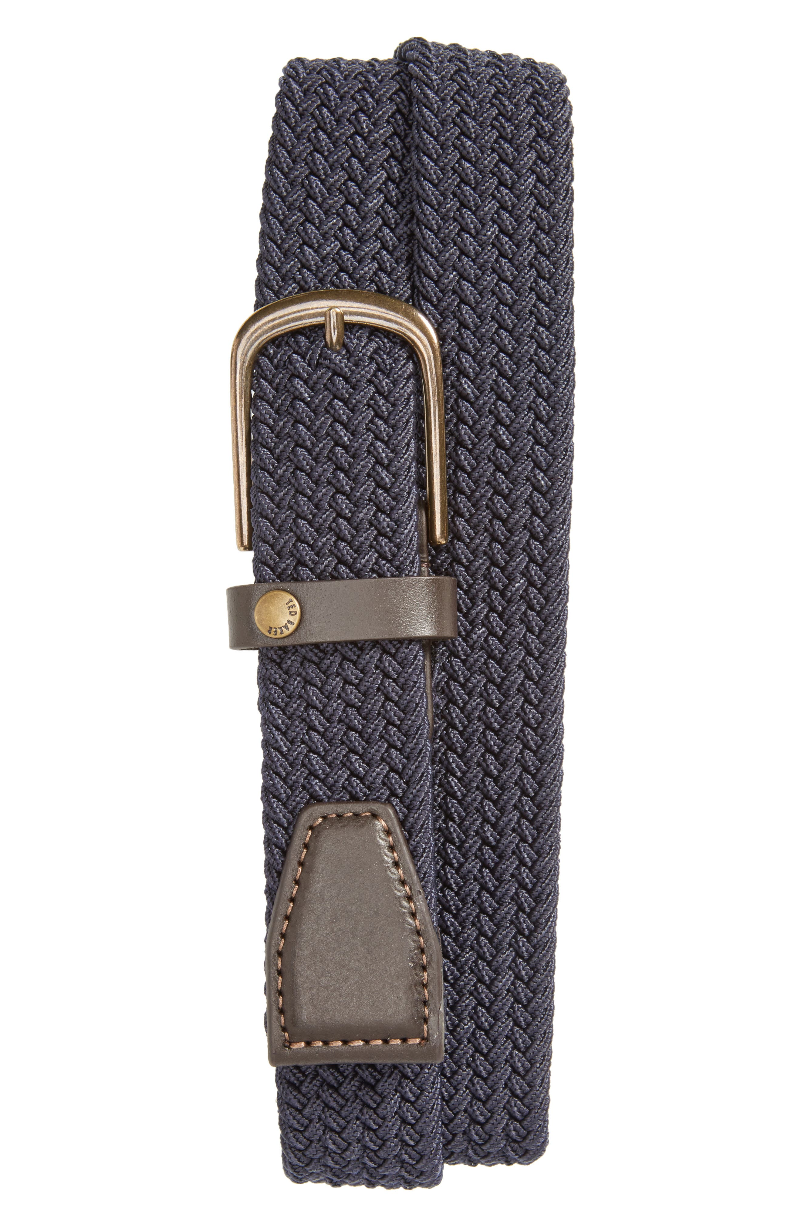 Gerbera Marled Woven Stretch Belt,                             Main thumbnail 1, color,                             Navy