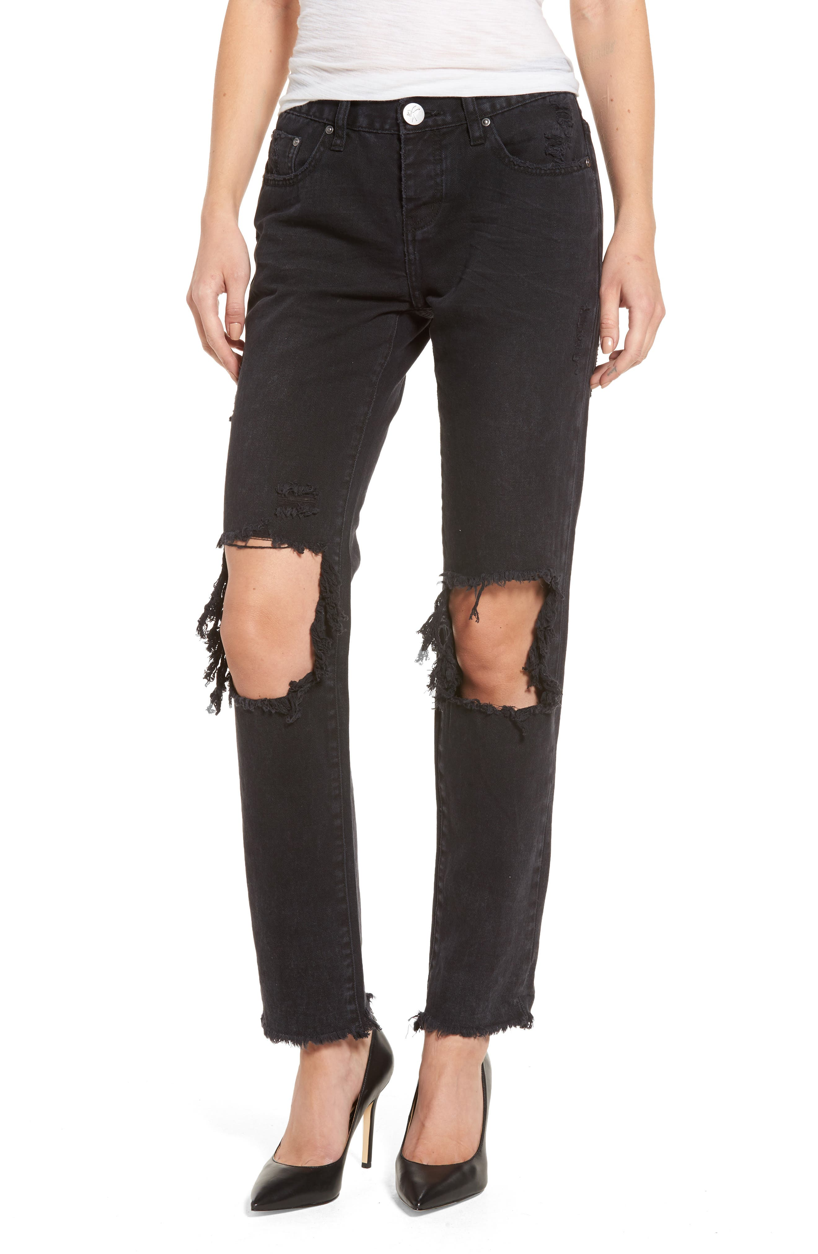 One Teaspoon Awesome Baggies Boyfriend Jeans (Black Anchor)