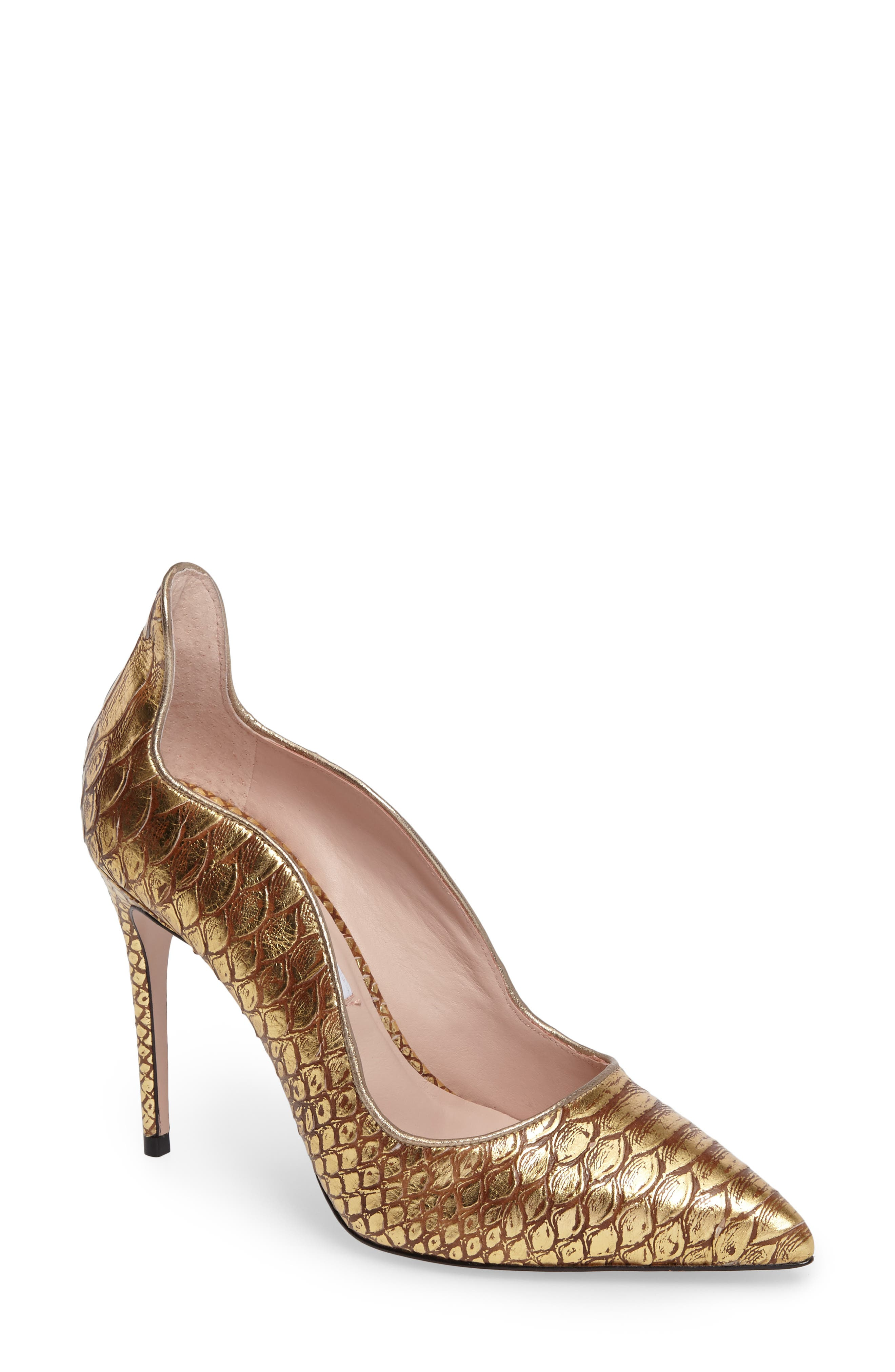 Anika II Curved Pump,                             Main thumbnail 1, color,                             Gold Embossed Leather