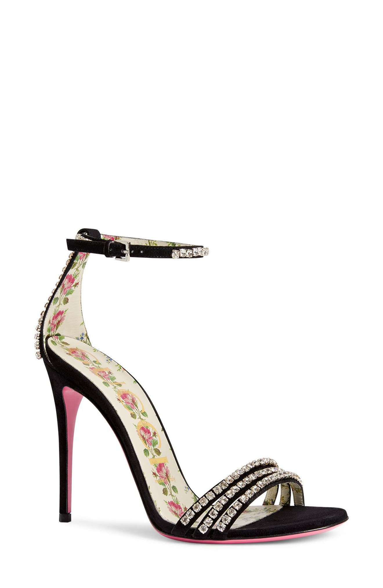 Alternate Image 1 Selected - Gucci Ilse Crystal Embellished Ankle Strap Sandal (Women)