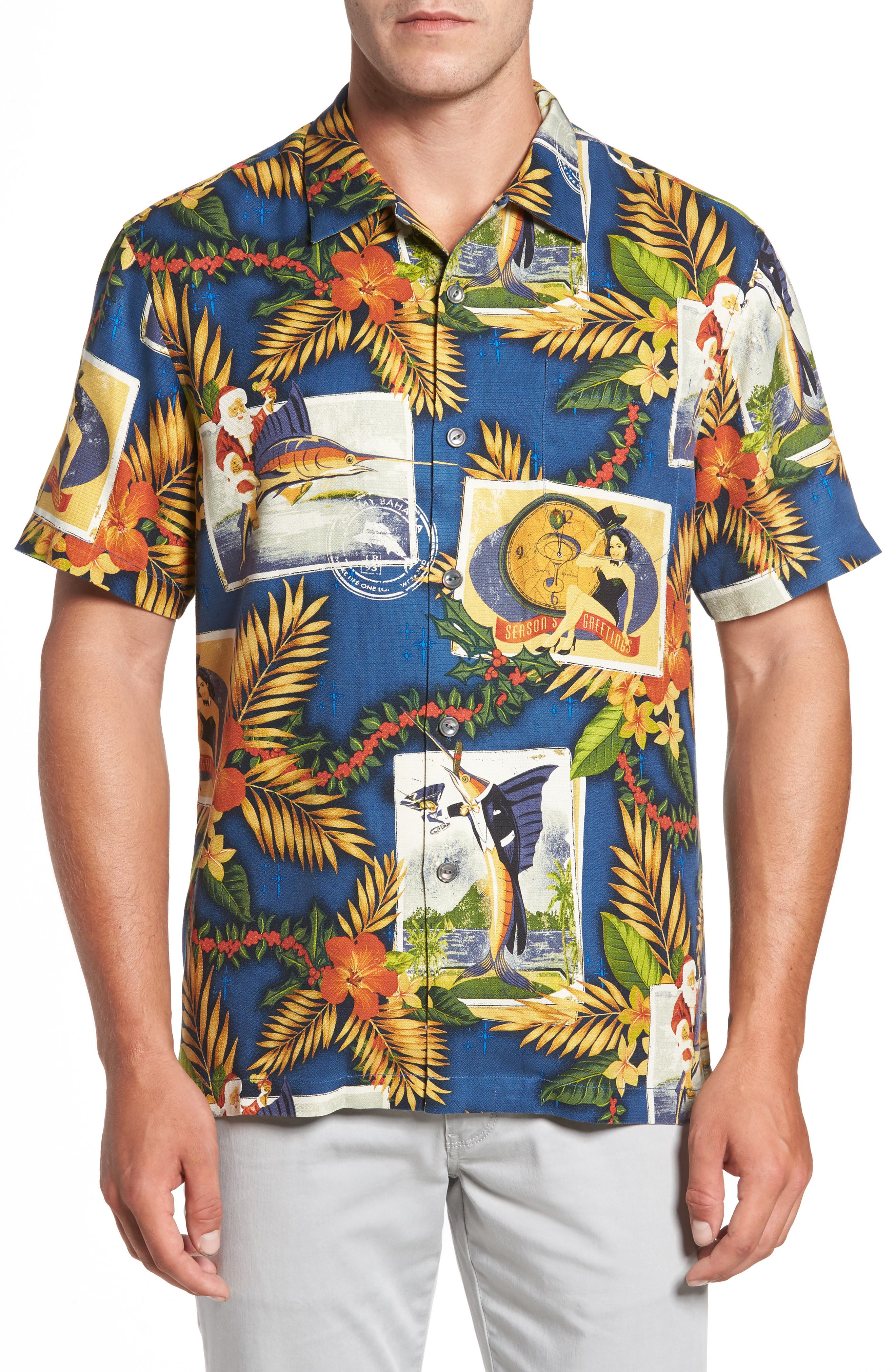 Alternate Image 1 Selected - Tommy Bahama Tommy Holidays Silk Woven Shirt