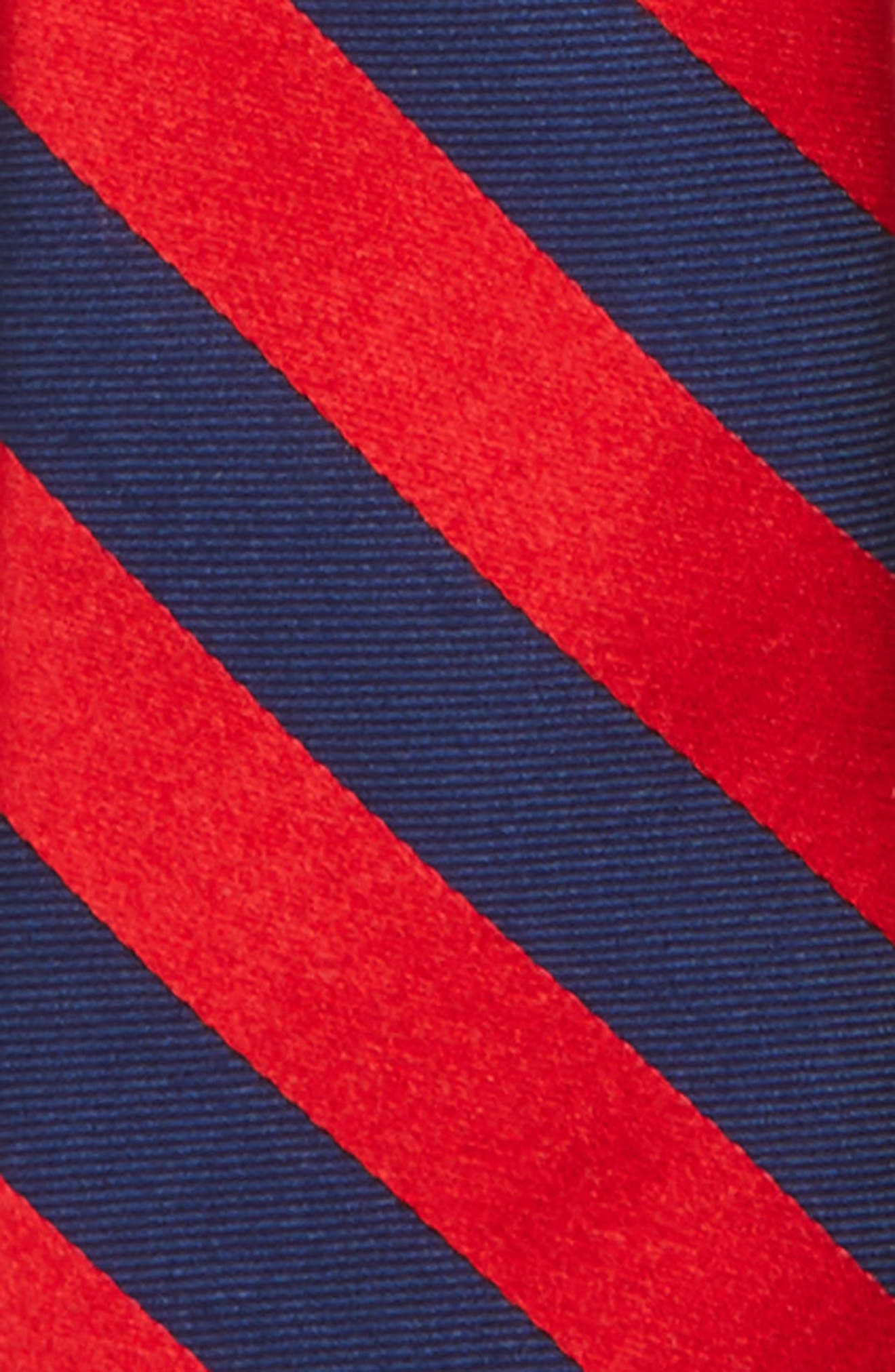Stripe Silk Zip Tie,                             Alternate thumbnail 2, color,                             Red