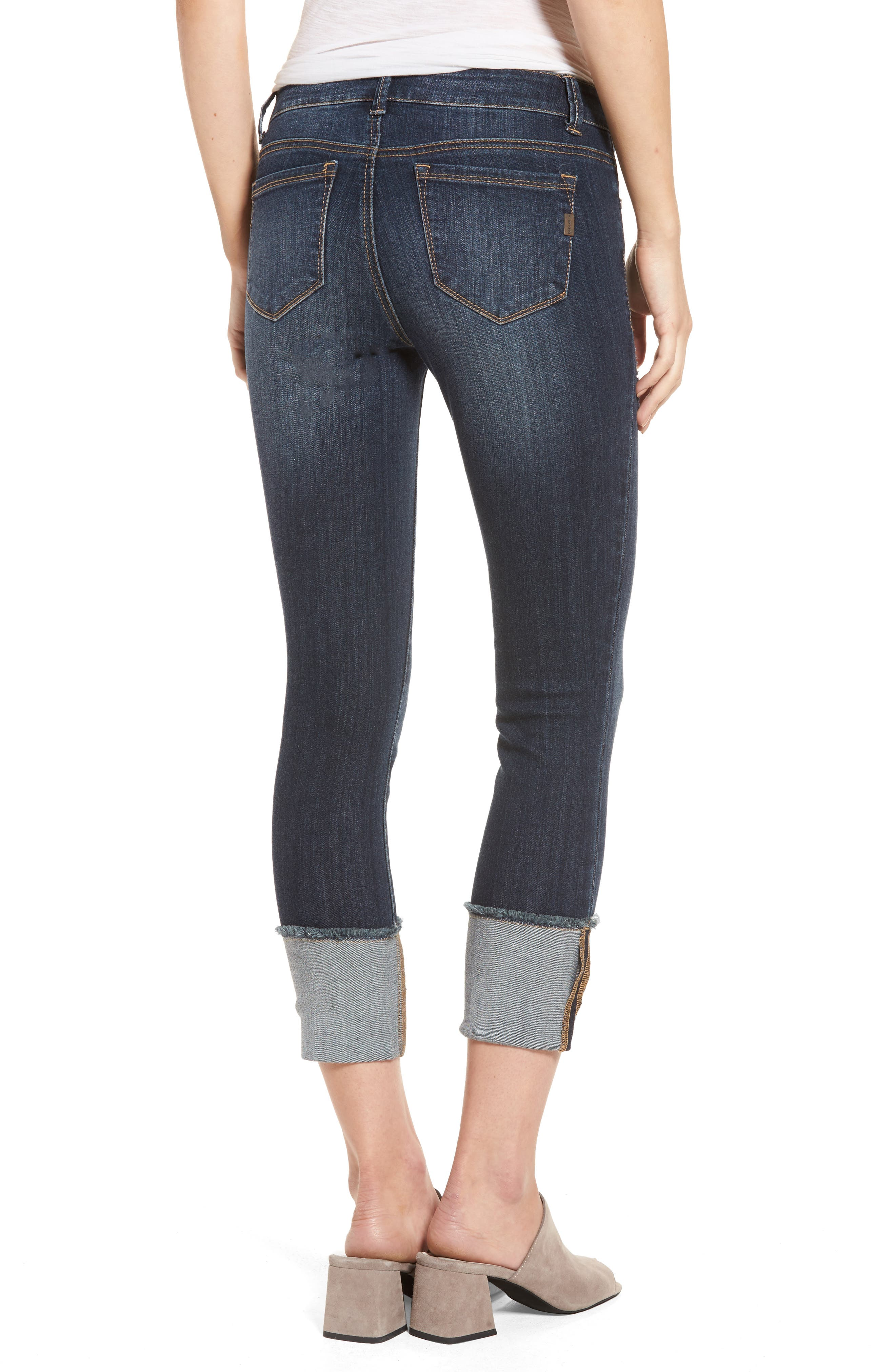 Distressed Roll Cuff Jeans,                             Alternate thumbnail 2, color,                             Hazel