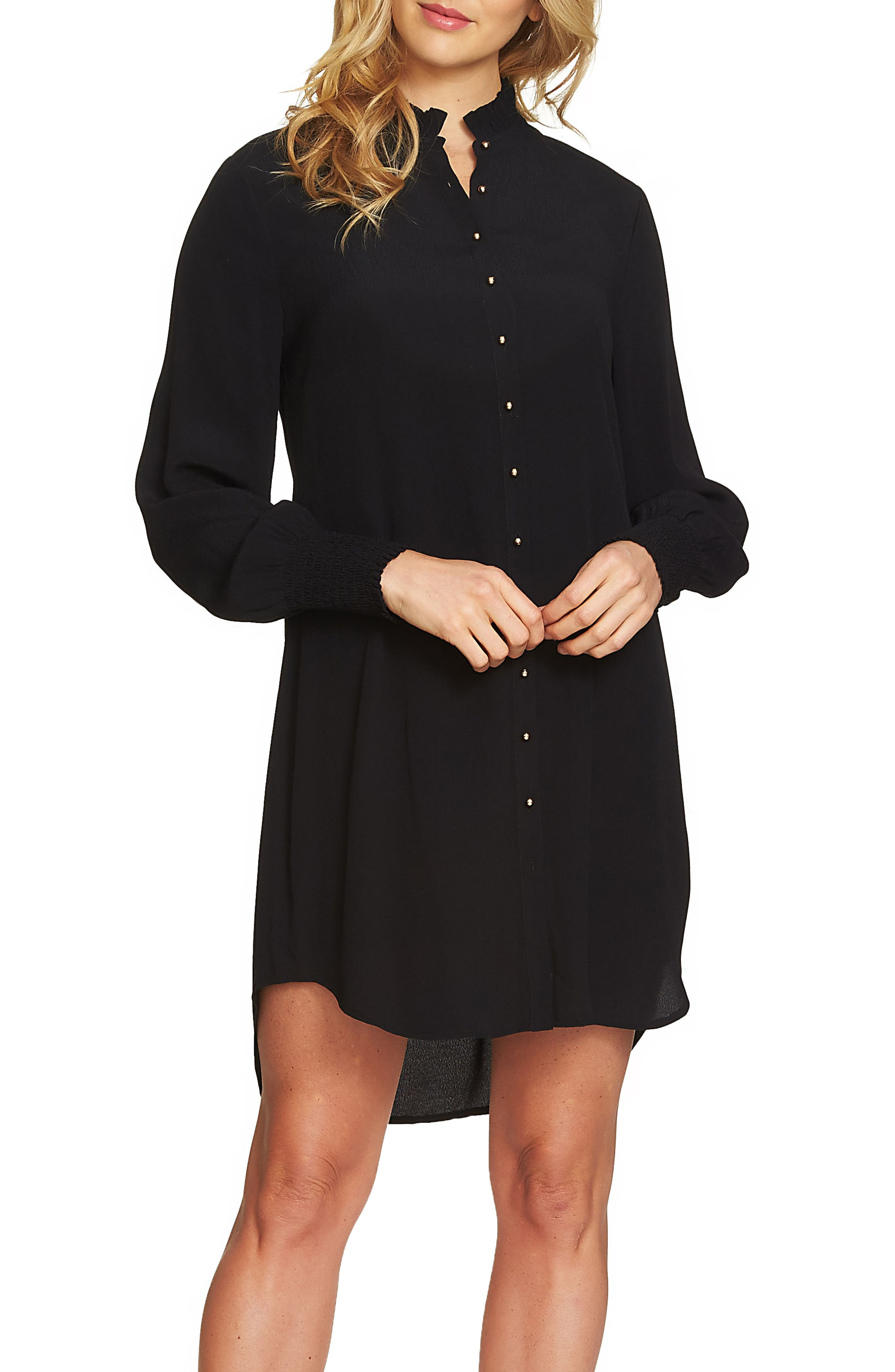 Button Up Shirtdress,                             Main thumbnail 1, color,                             Rich Black