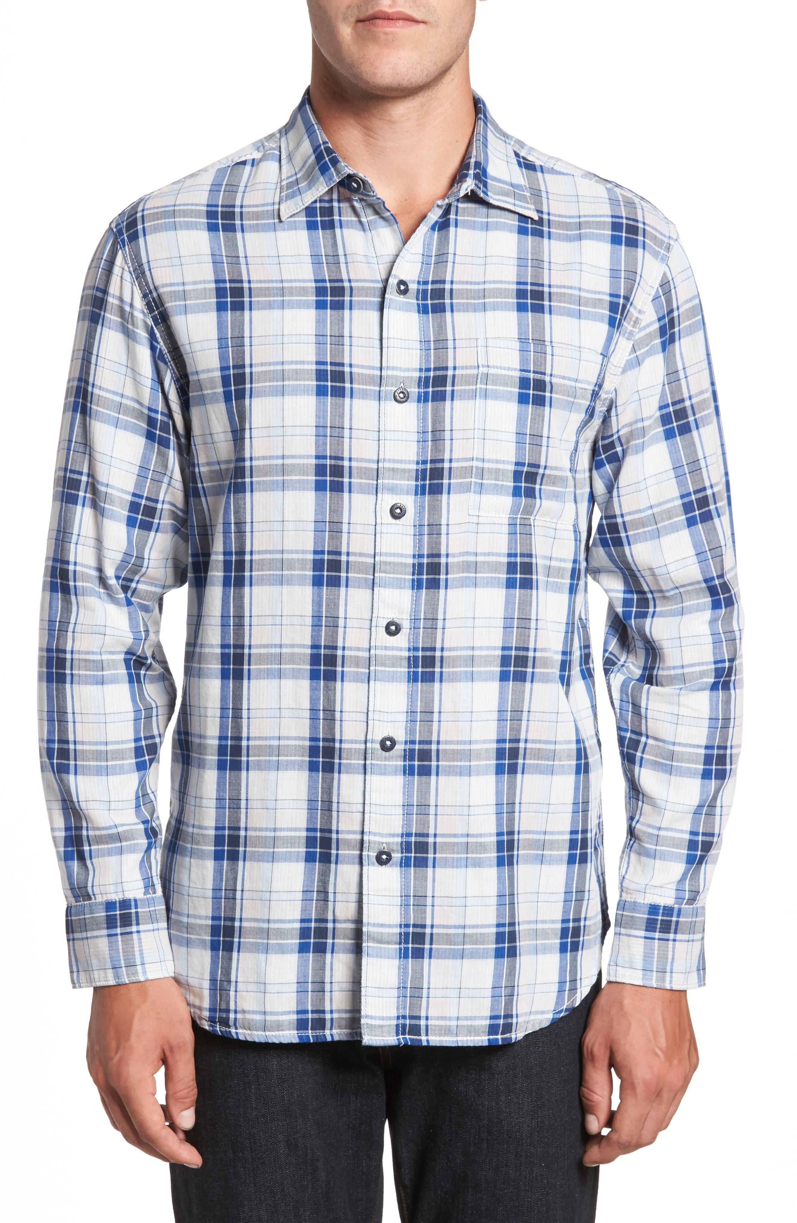 Aladdin Standard Fit Plaid Sport Shirt,                         Main,                         color, Dark Cobalt