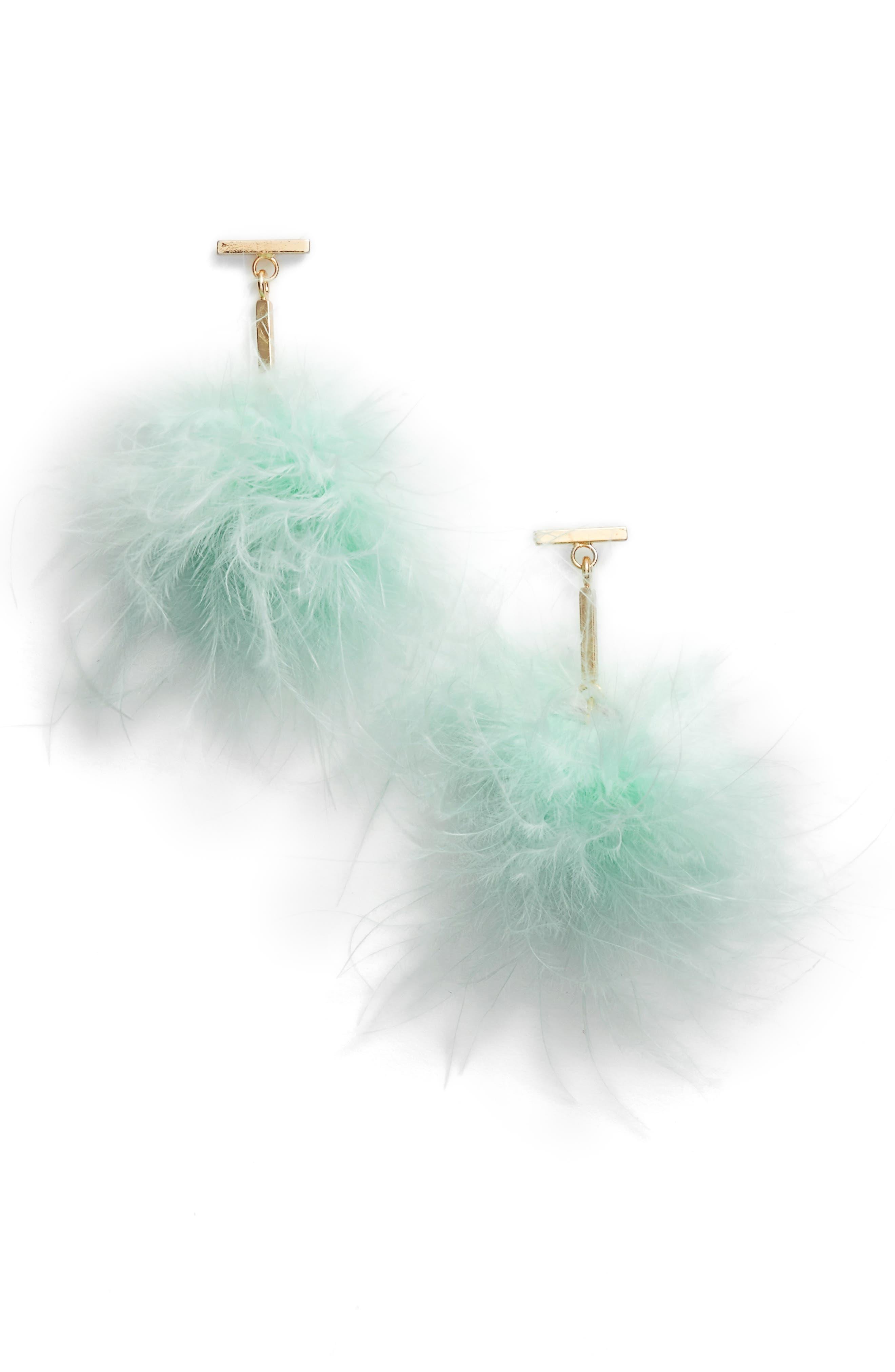 Tuleste Mini Marabou Pompom Drop Earrings