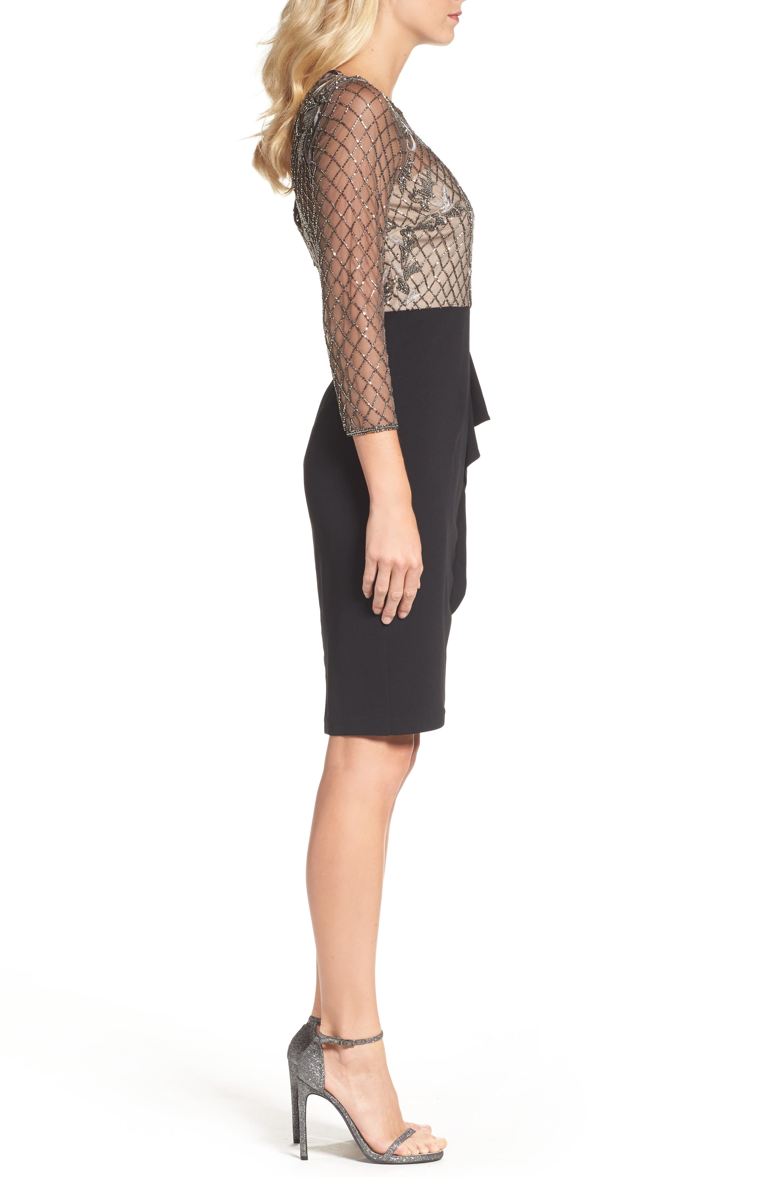 Alternate Image 3  - Adrianna Papell Embellished Bodice Drape Front Dress
