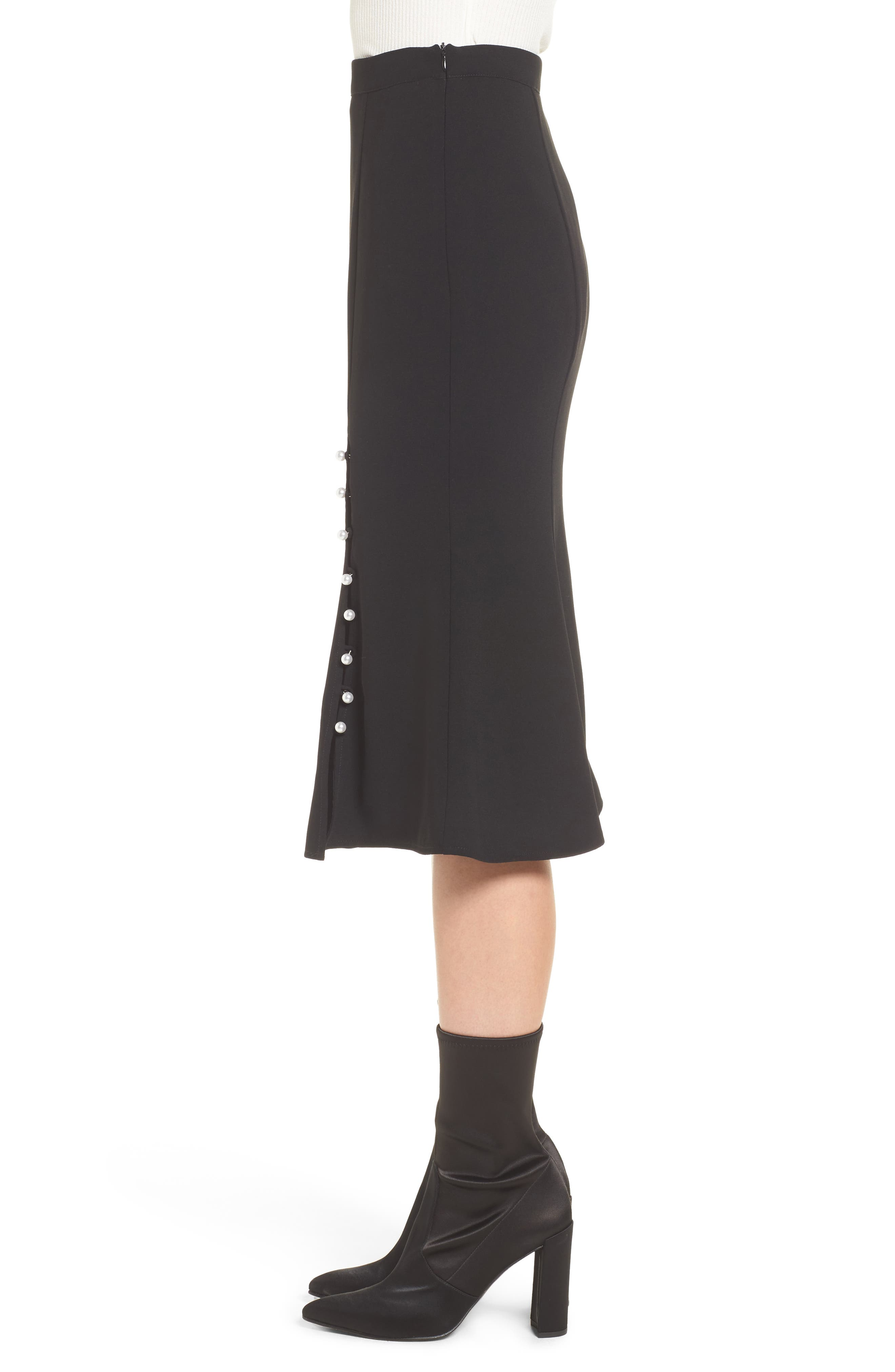 Button Front Skirt,                             Alternate thumbnail 3, color,                             Black