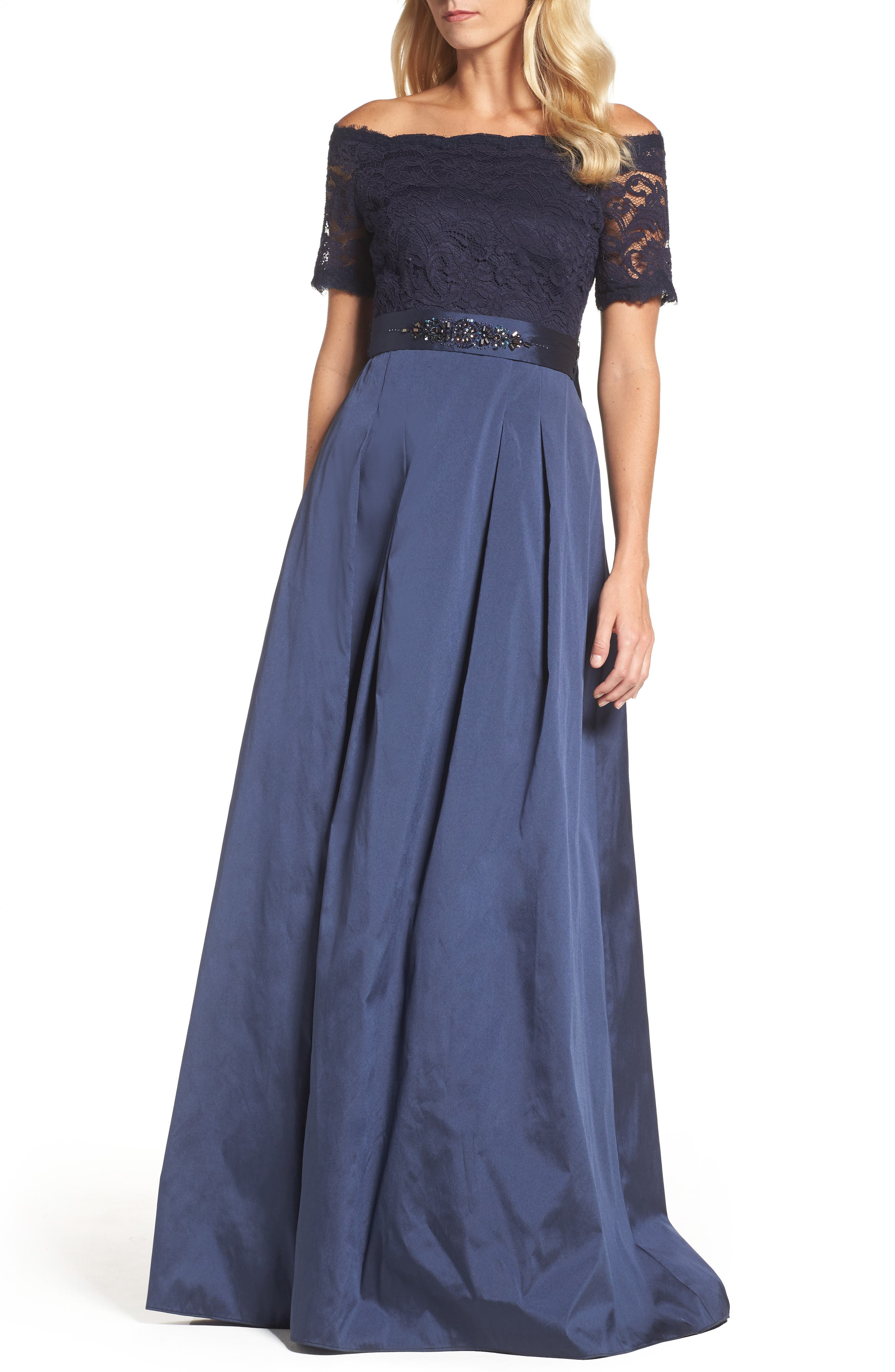 Off the Shoulder Gown,                         Main,                         color, Navy