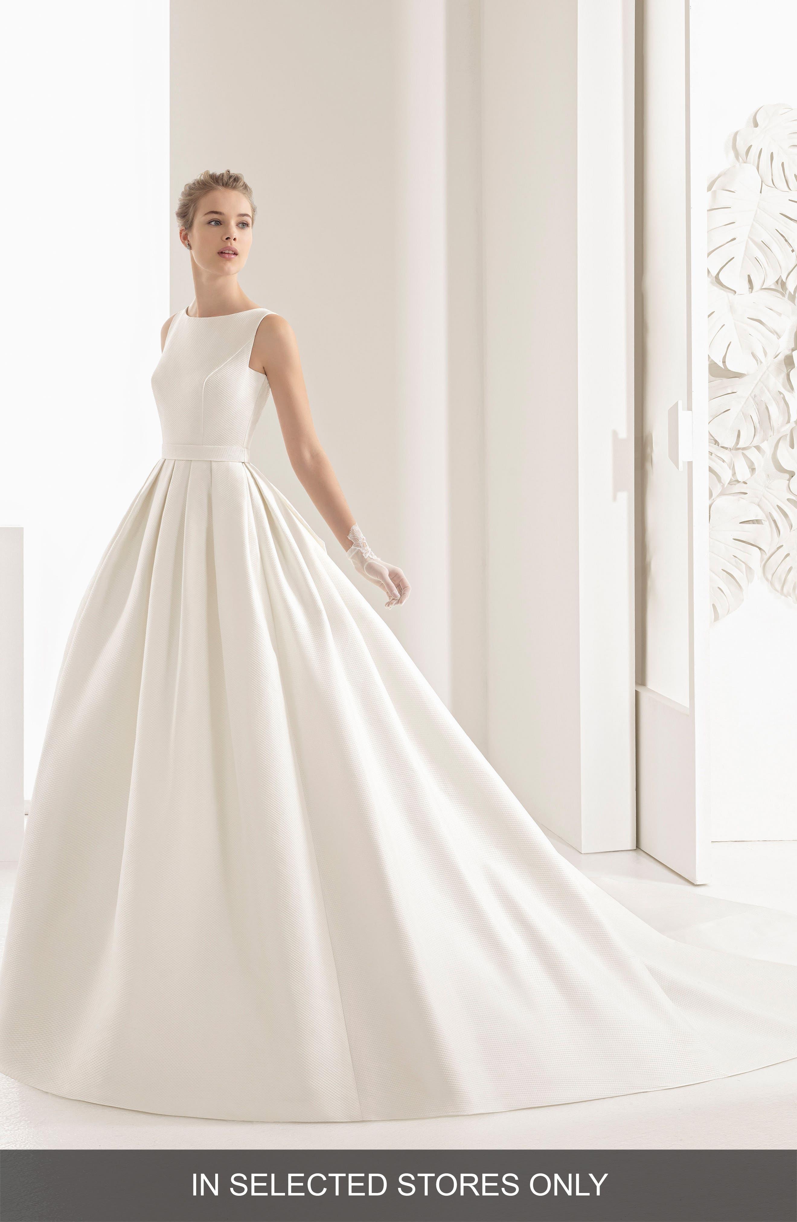 Navres Lace Back Piqué Gown,                         Main,                         color, Natural