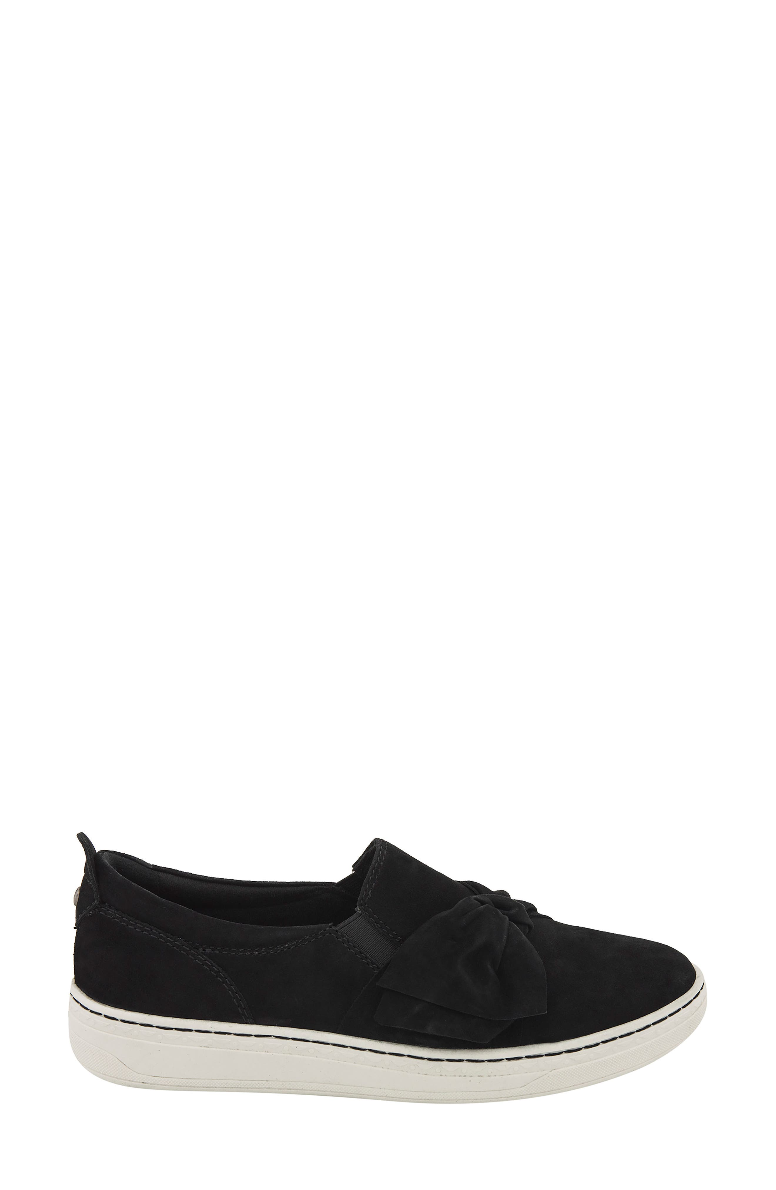 Zoey Slip-On,                             Alternate thumbnail 3, color,                             Black Suede Fabric