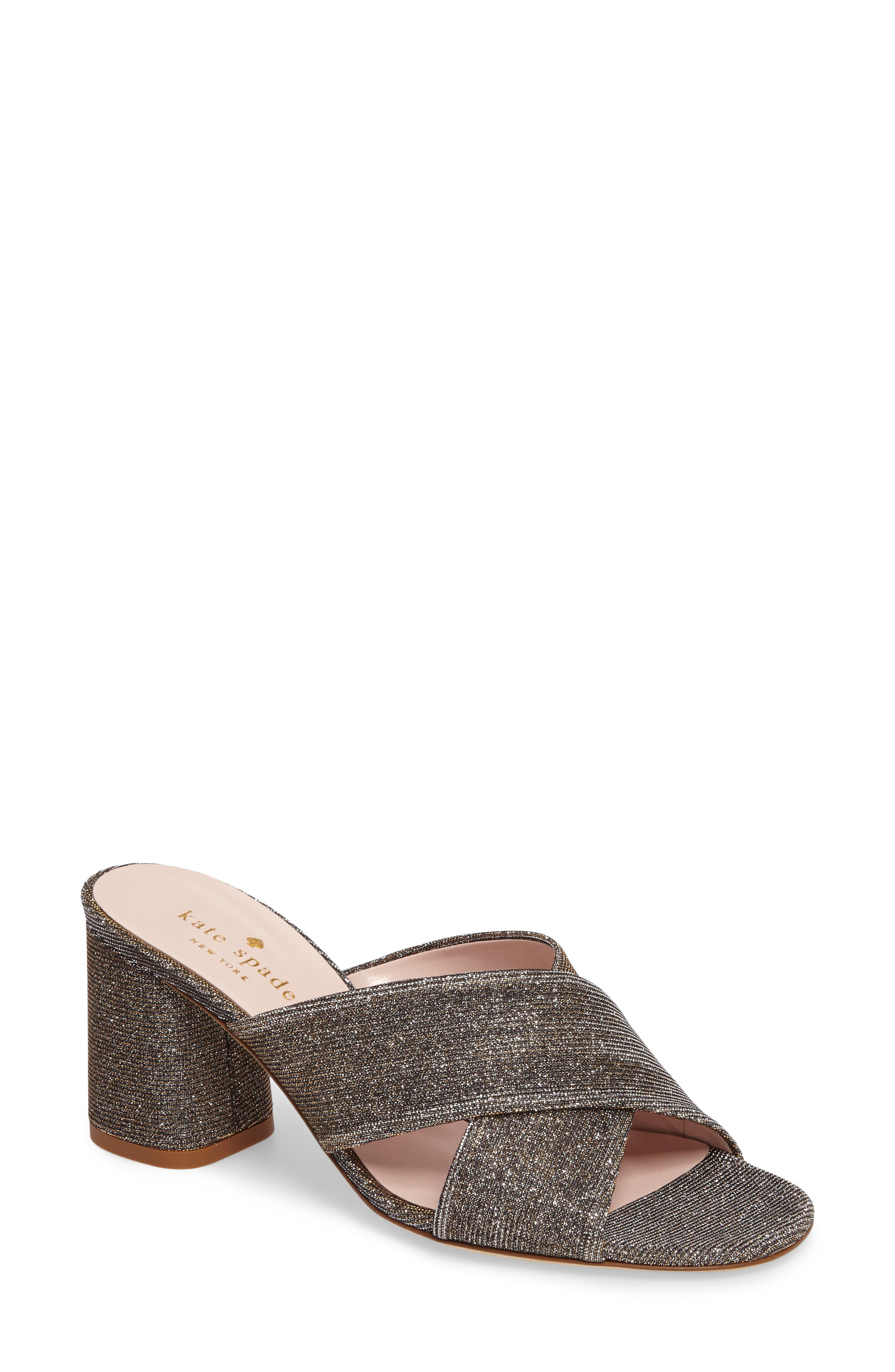 denault slide sandal,                             Main thumbnail 1, color,                             Bronze Lurex