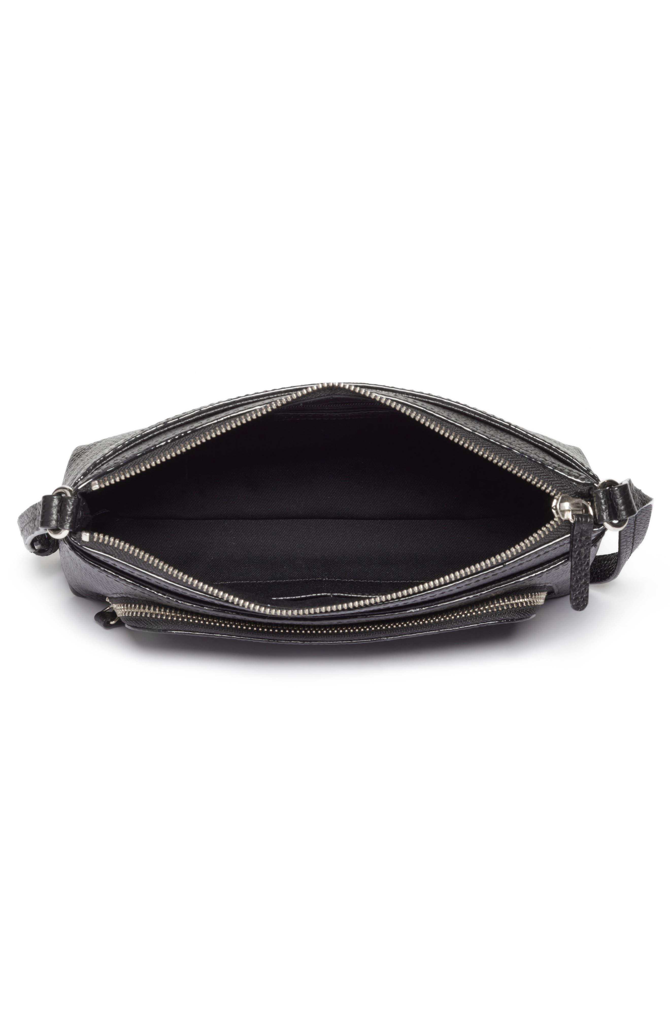 Pebbled Leather Crossbody Bag,                             Alternate thumbnail 4, color,                             Black