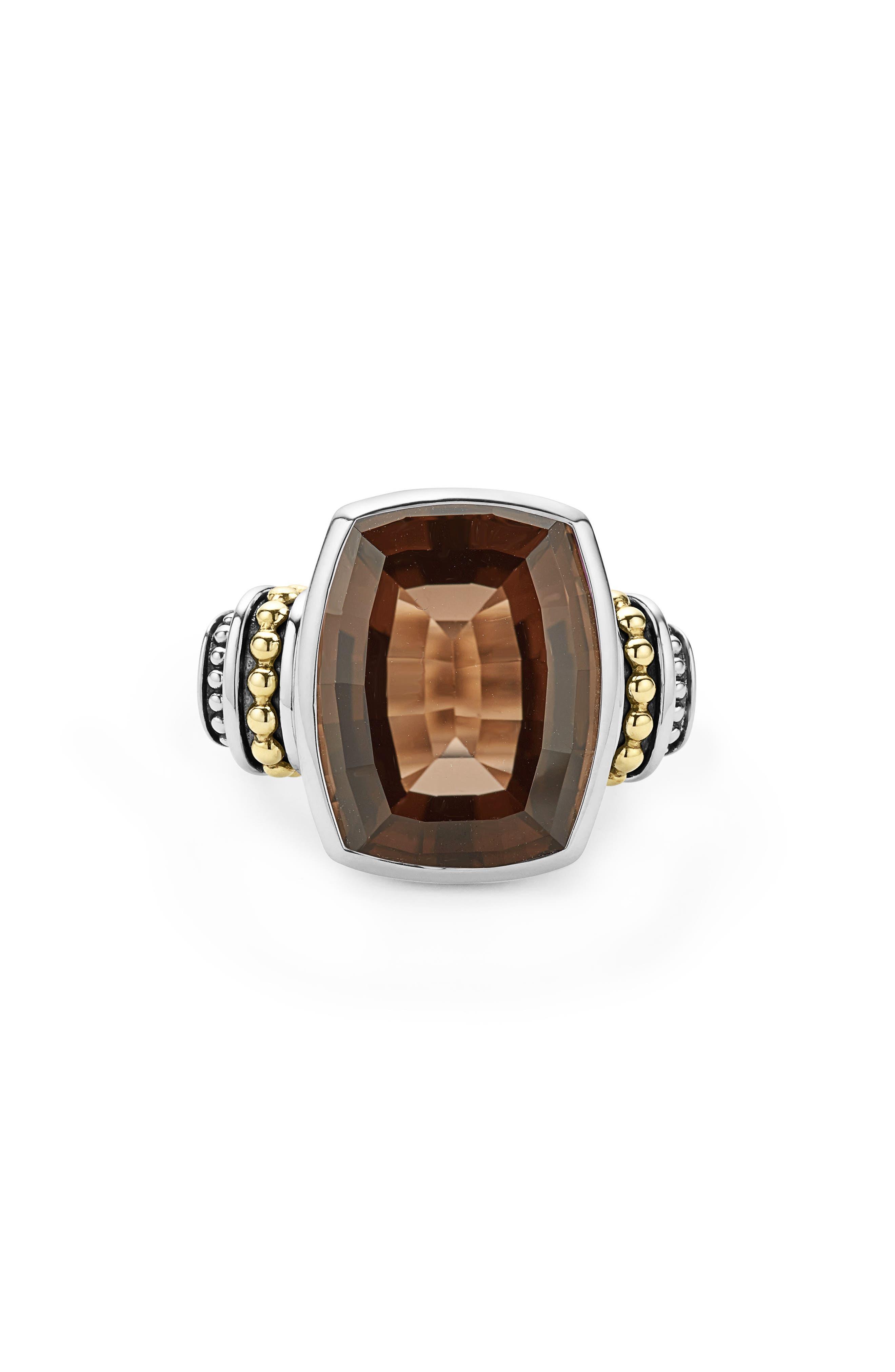 'Caviar Color' Large Semiprecious Stone Ring,                             Alternate thumbnail 4, color,                             Smokey Quartz