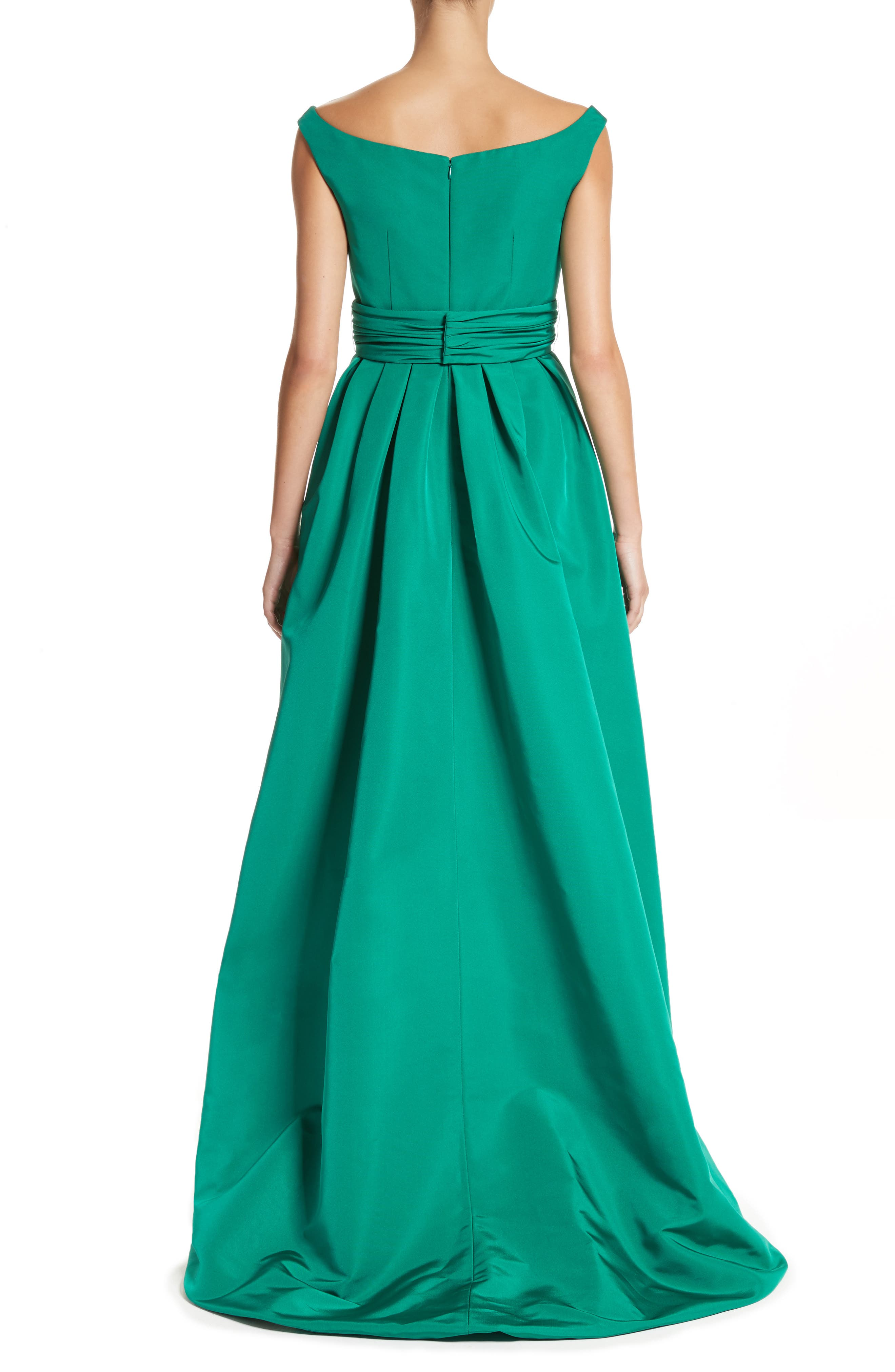 Off the Shoulder Silk Faille Gown,                             Alternate thumbnail 2, color,                             Green