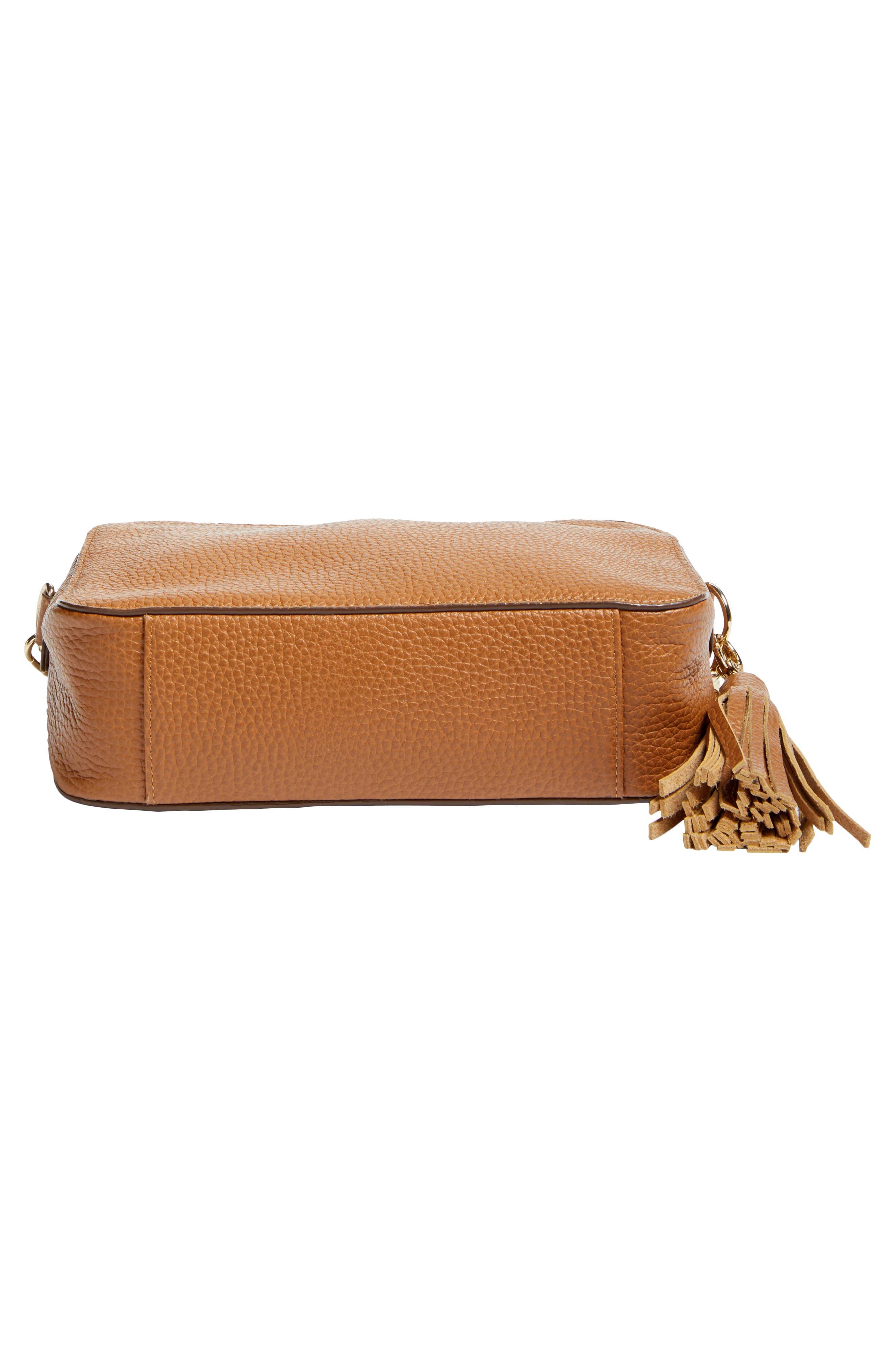 Ella Tassel Leather Crossbody Bag,                             Alternate thumbnail 6, color,                             Tan Spice