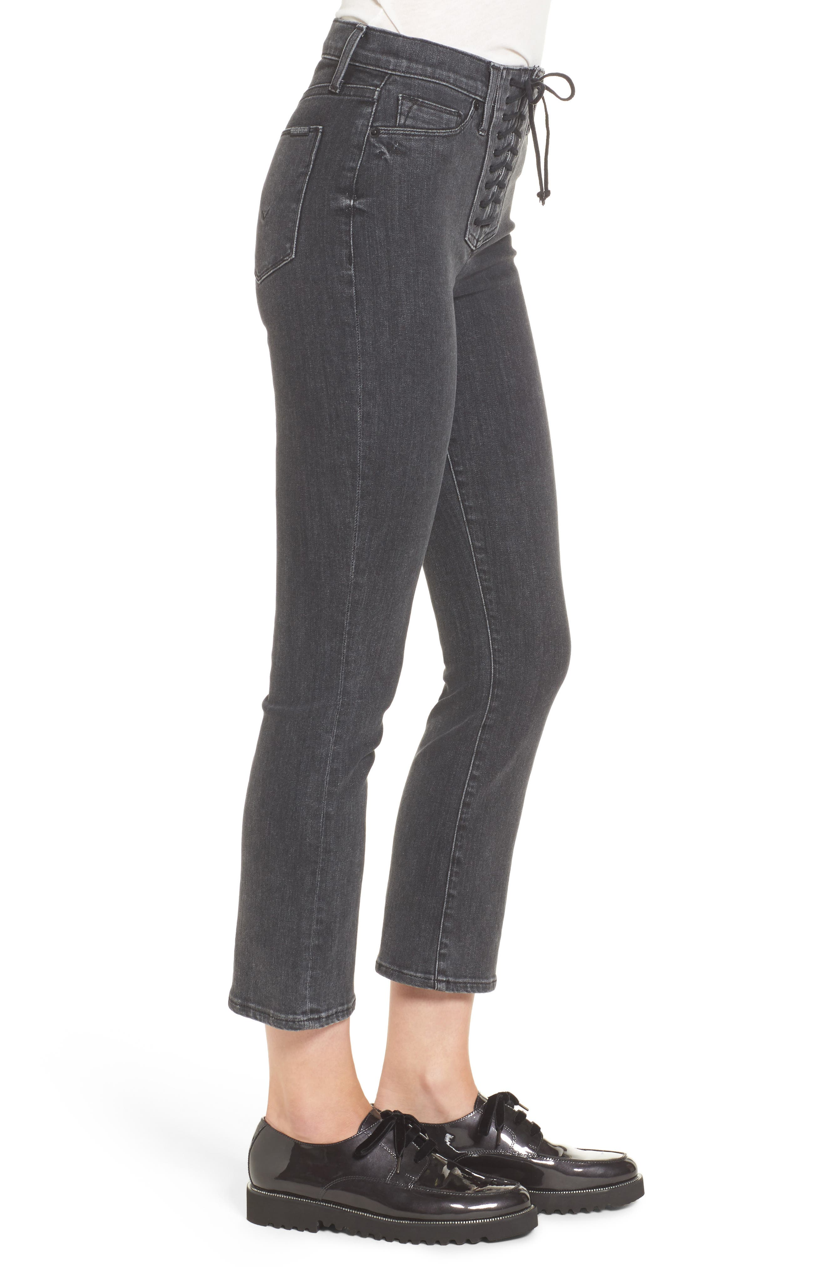 Alternate Image 2  - Hudson Jeans Bullocks High Waist Lace-Up Crop Jeans (Disarm)