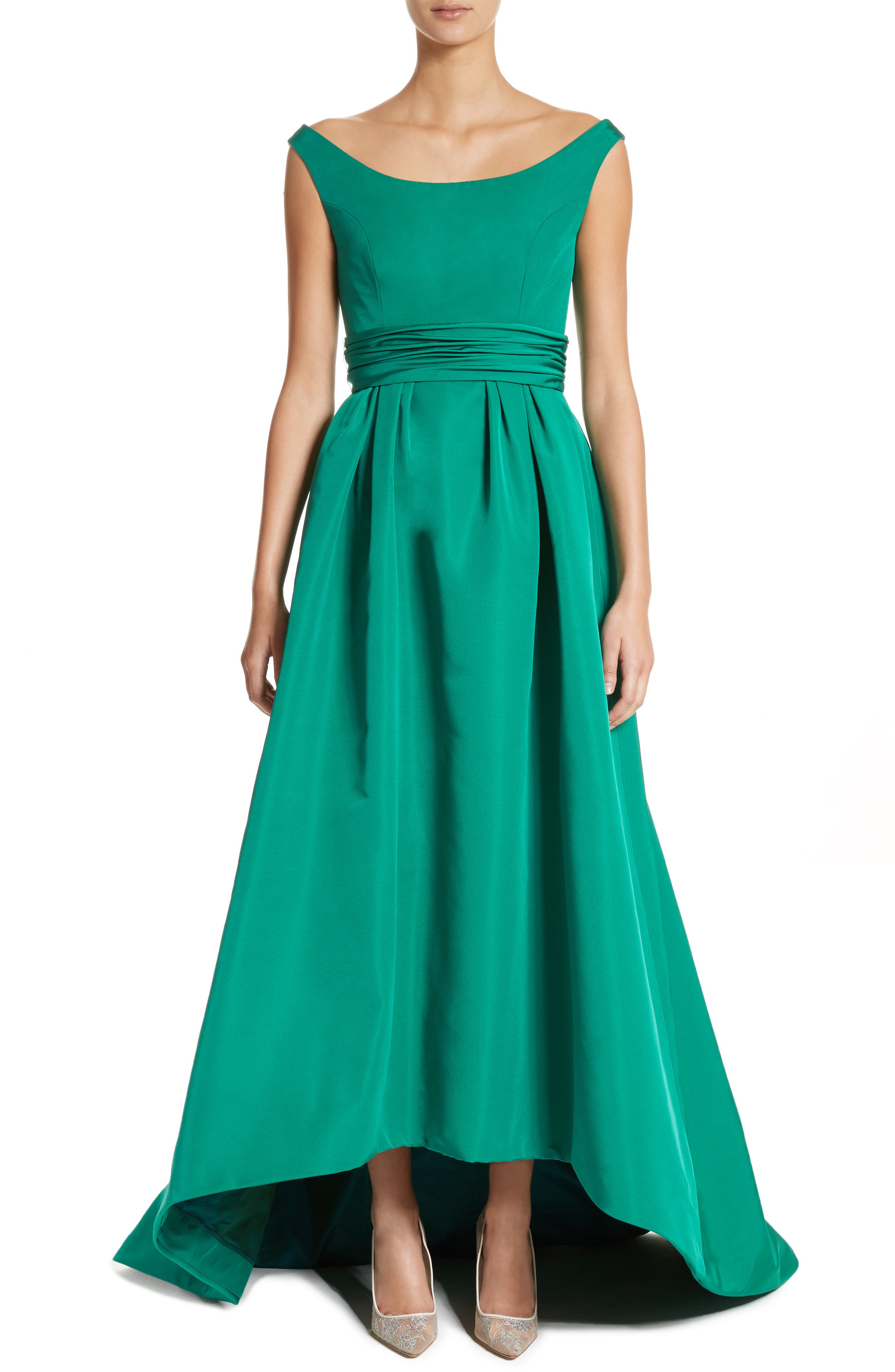 Off the Shoulder Silk Faille Gown,                         Main,                         color, Green