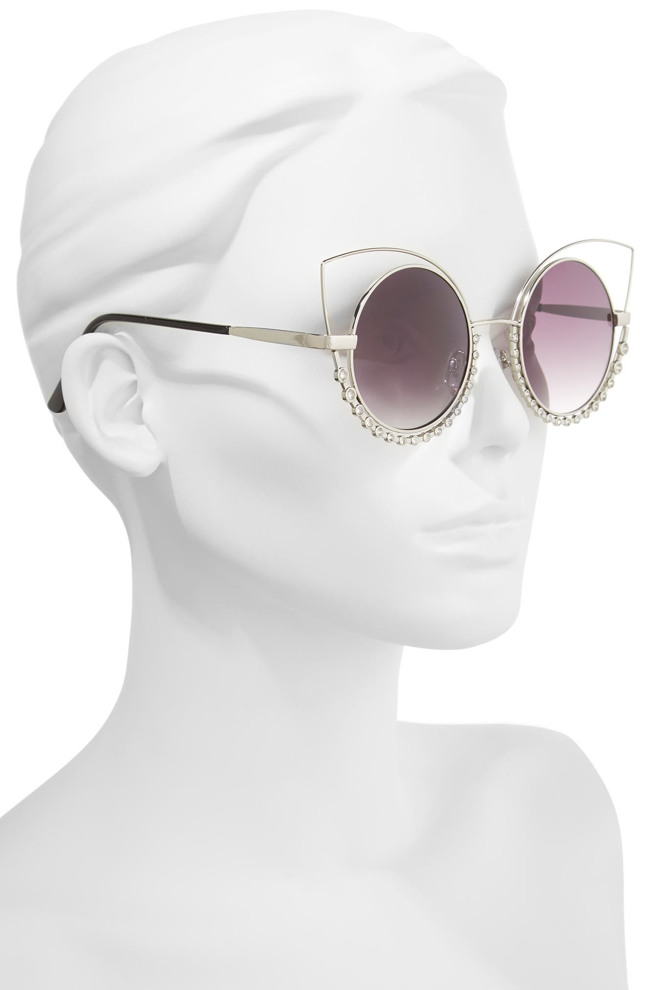55mm Studded Round Sunglasses,                             Alternate thumbnail 2, color,                             Silver