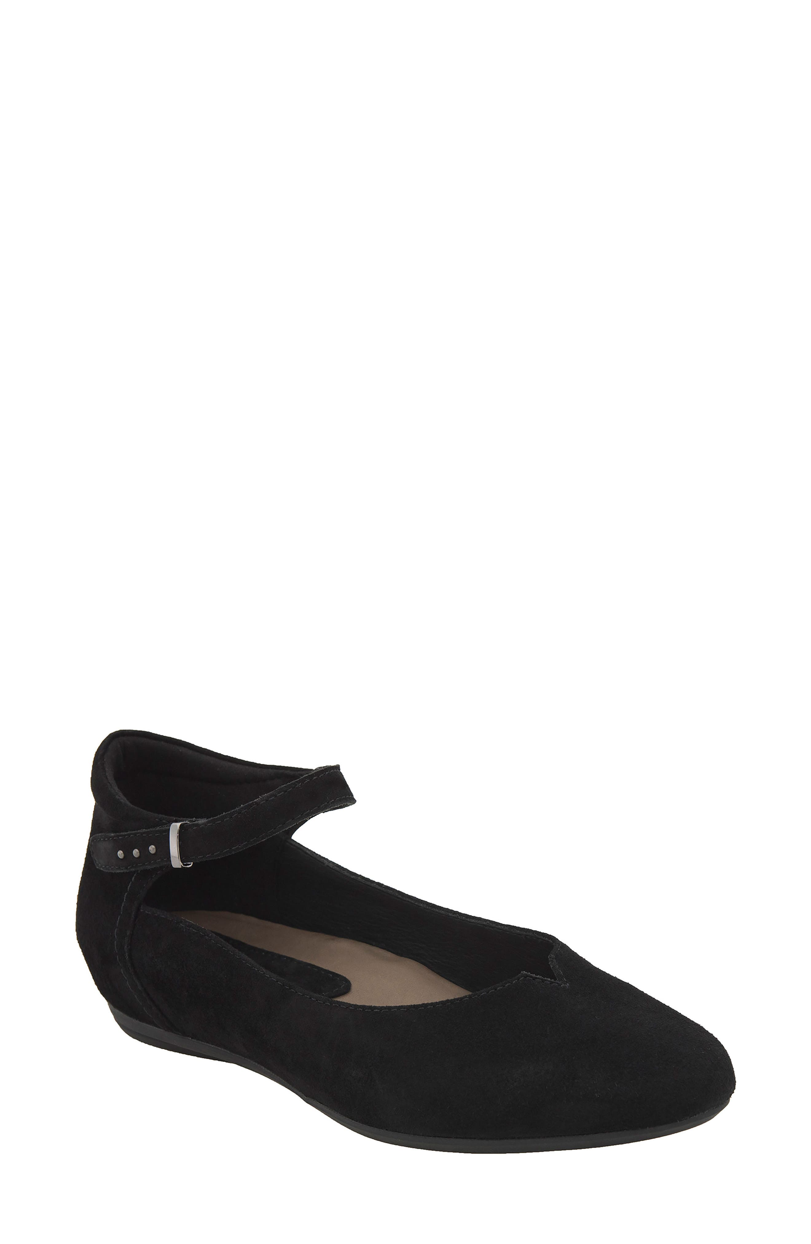 Emery Ankle Strap Flat,                         Main,                         color, Black Suede