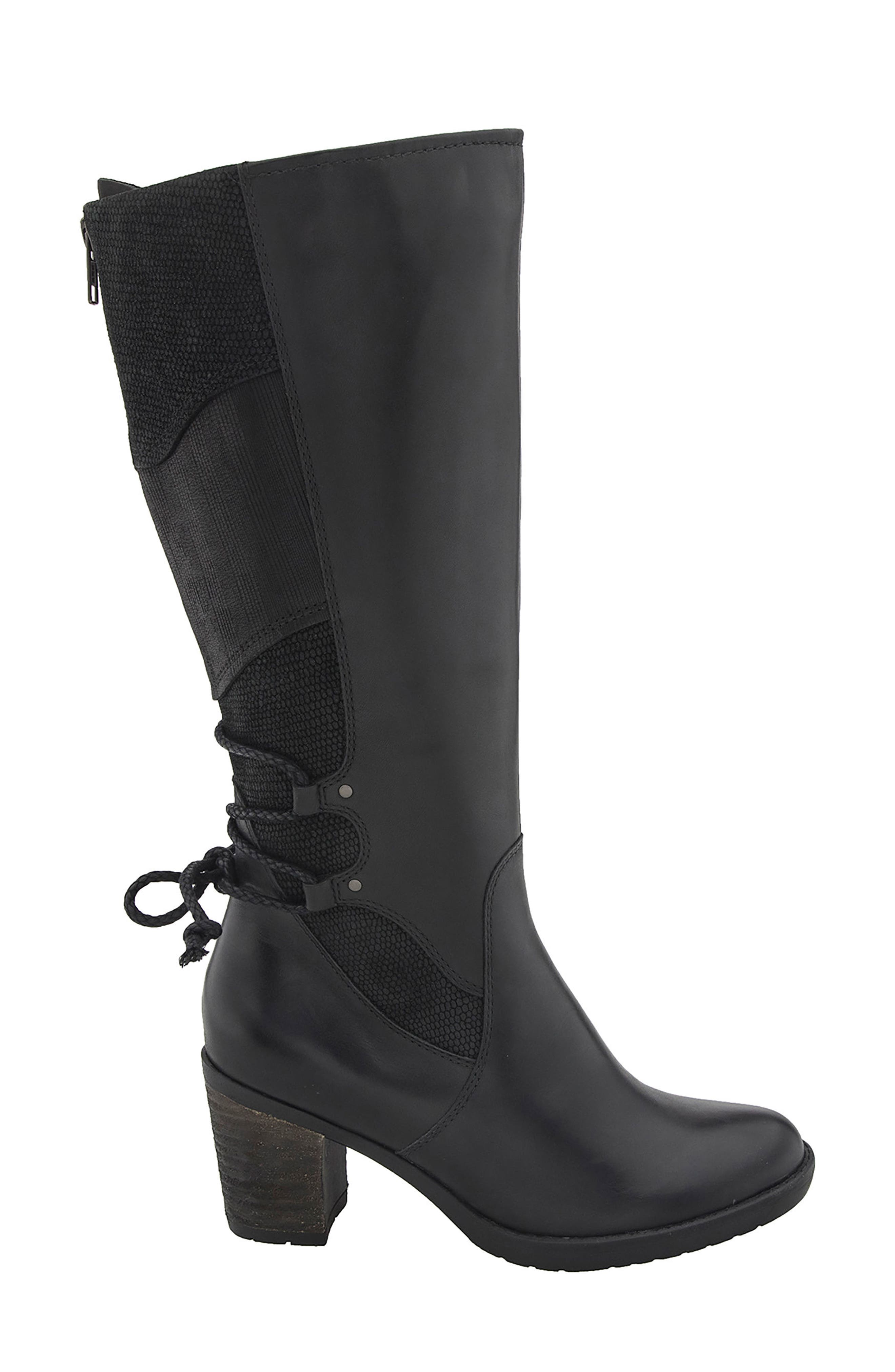 Miles Tall Boot,                             Alternate thumbnail 3, color,                             Black Leather