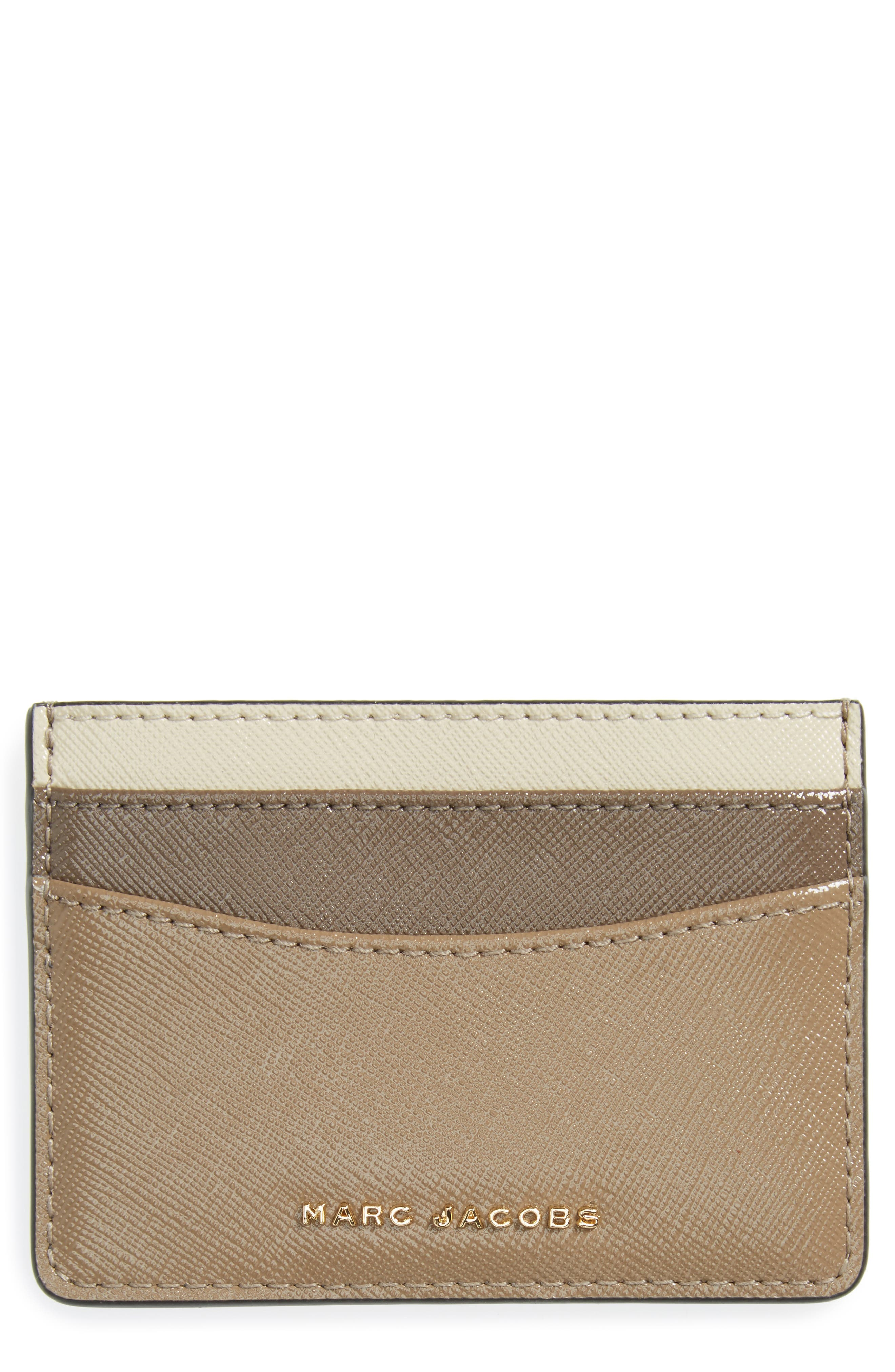 Color Block Saffiano Leather Card Case,                             Main thumbnail 1, color,                             French Grey Multi