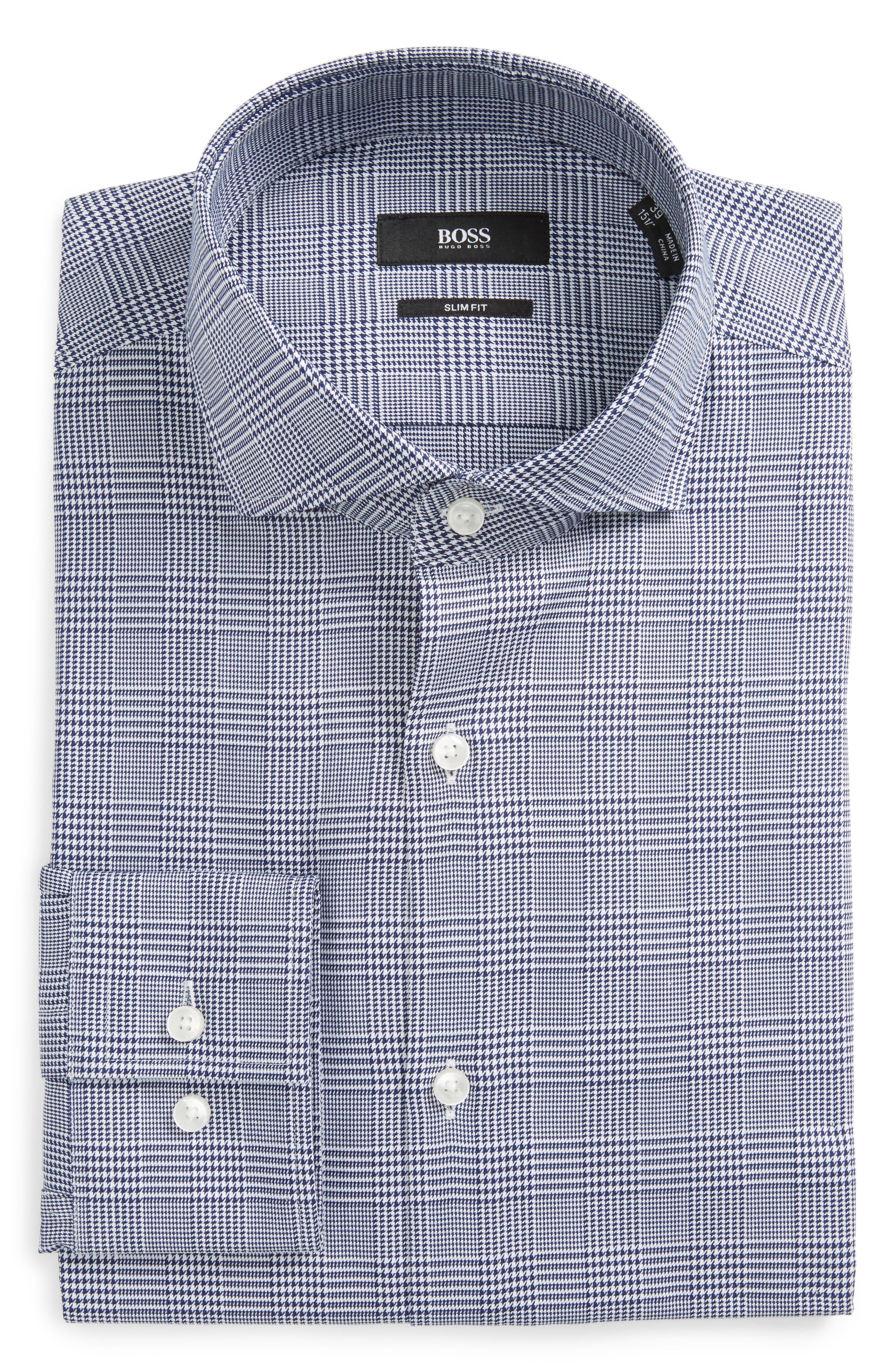 Slim Fit Plaid Dress Shirt,                         Main,                         color, Navy