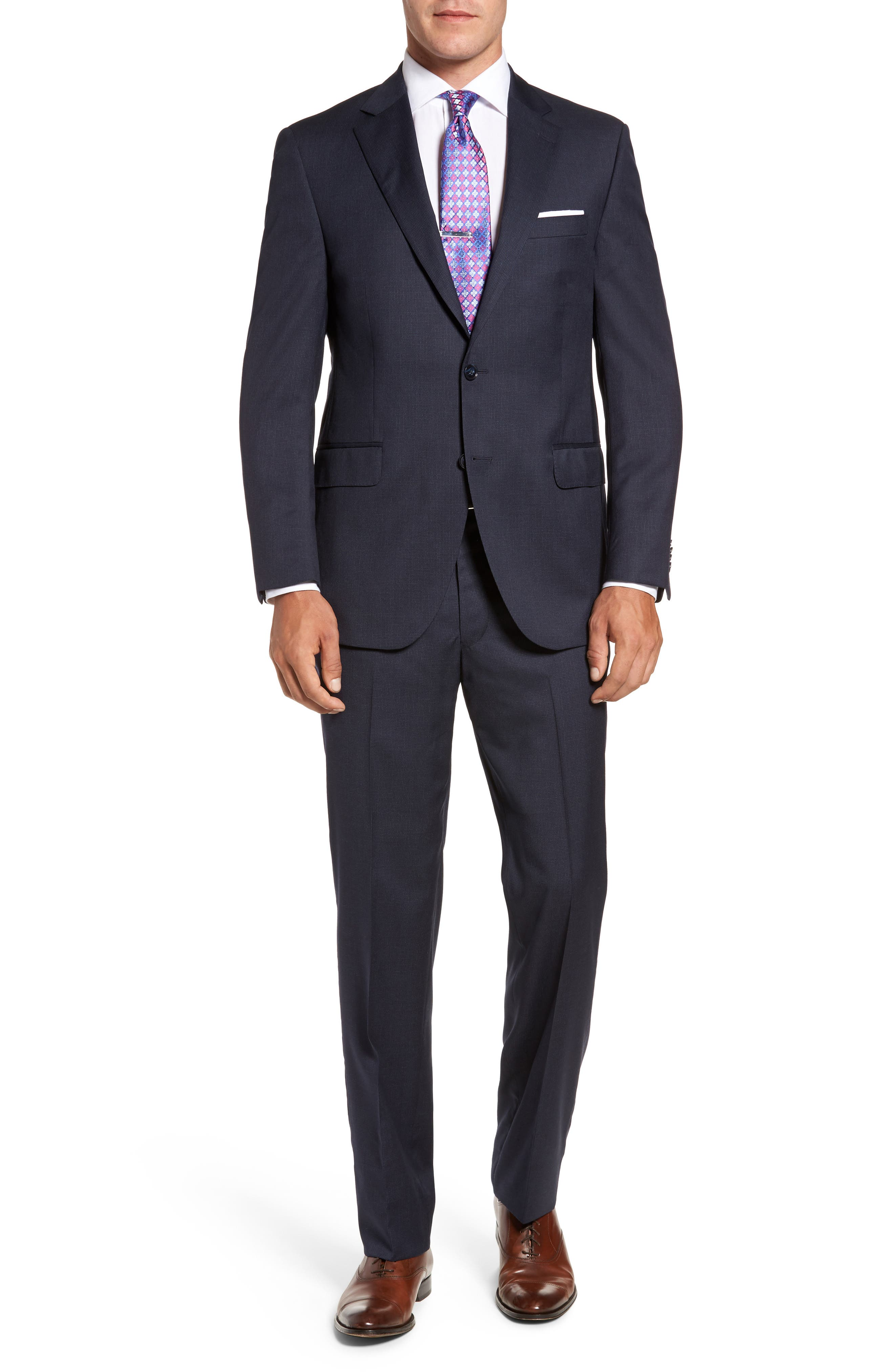 Flynn Classic Fit Check Wool Suit,                         Main,                         color, Navy
