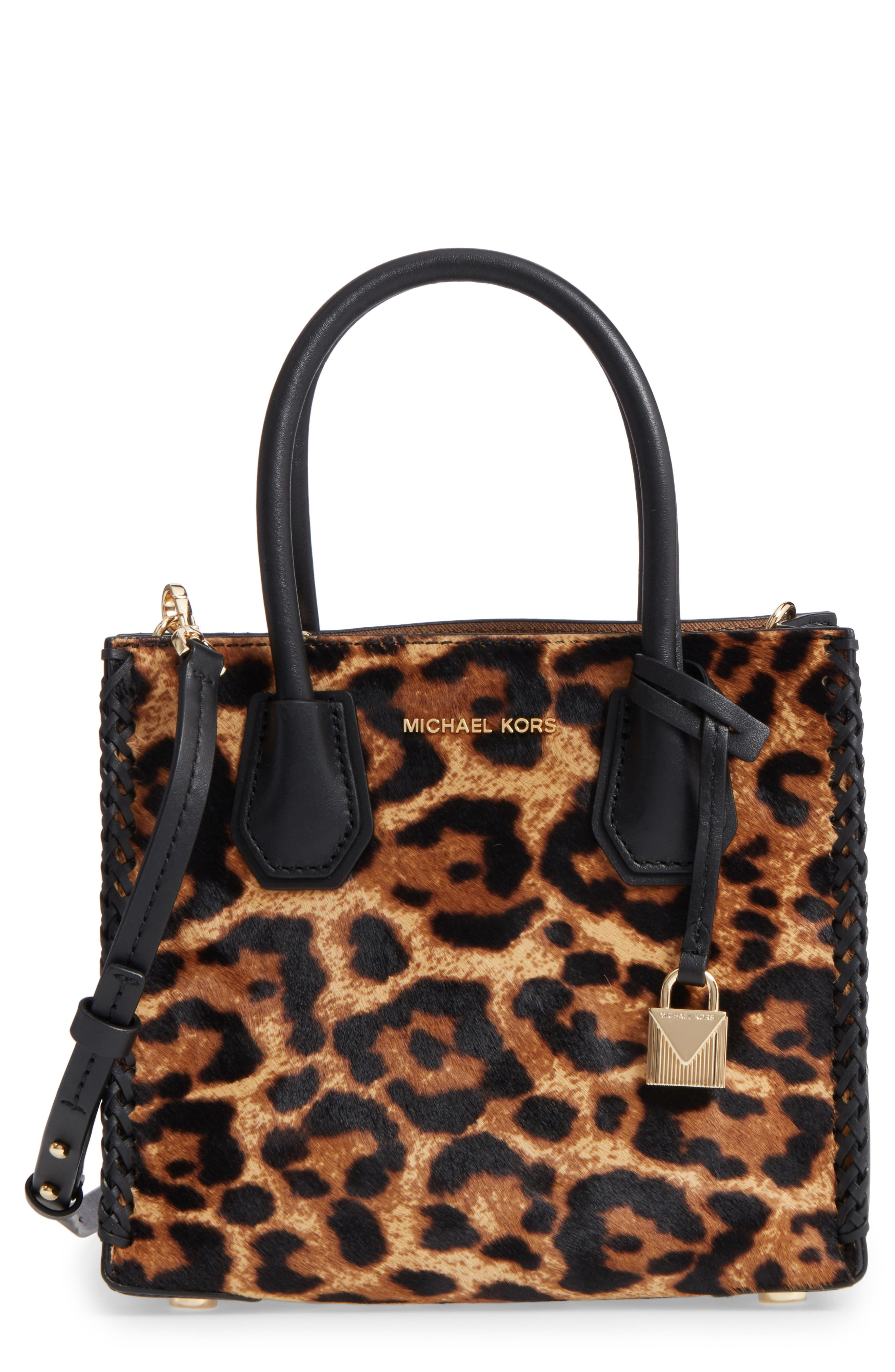 MICHAEL by Michael Kors Medium Mercer Genuine Calf Hair Crossbody Tote,                             Main thumbnail 1, color,                             Butterscotch