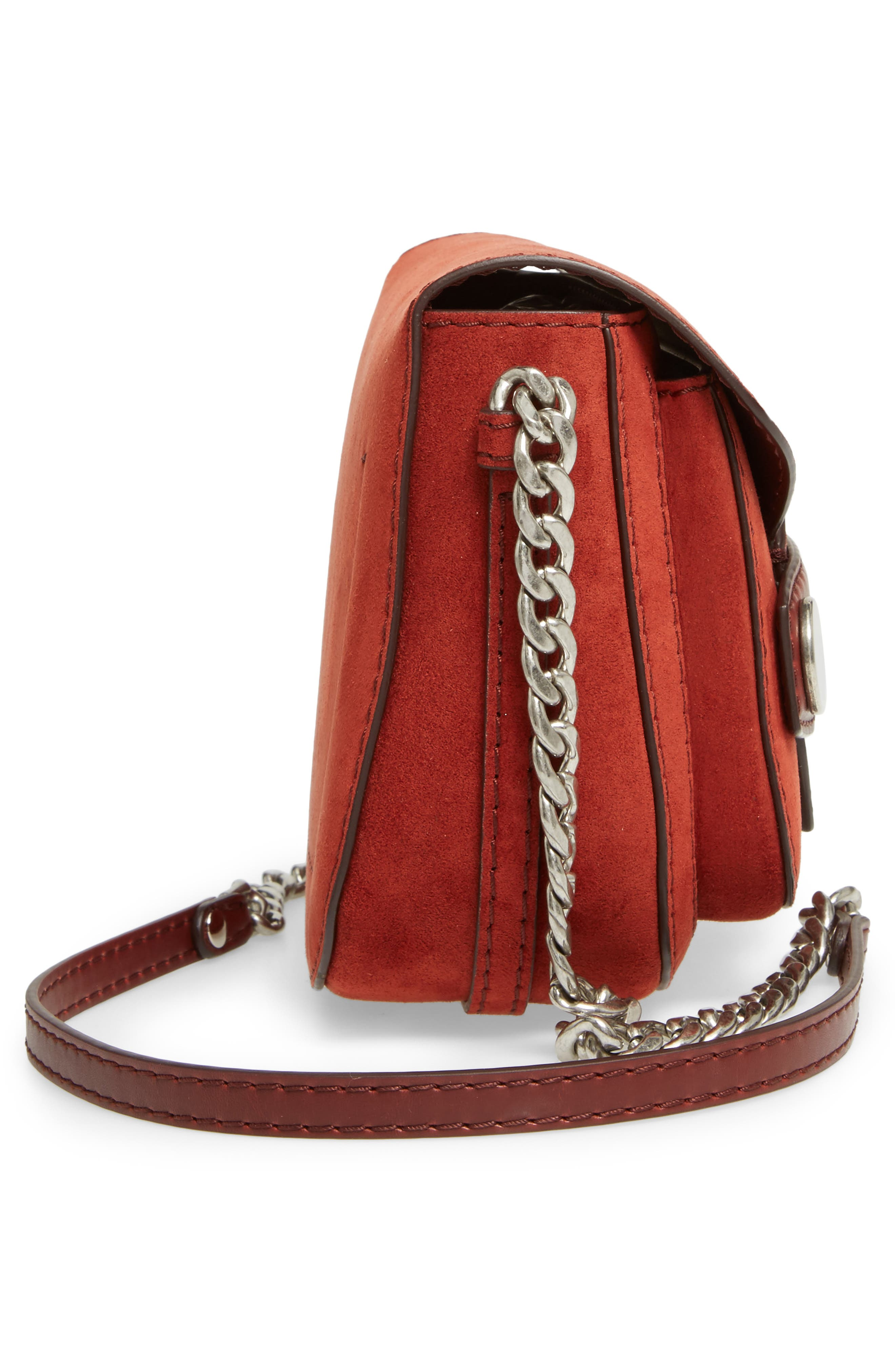Faux Leather Shoulder Bag,                             Alternate thumbnail 4, color,                             Henna