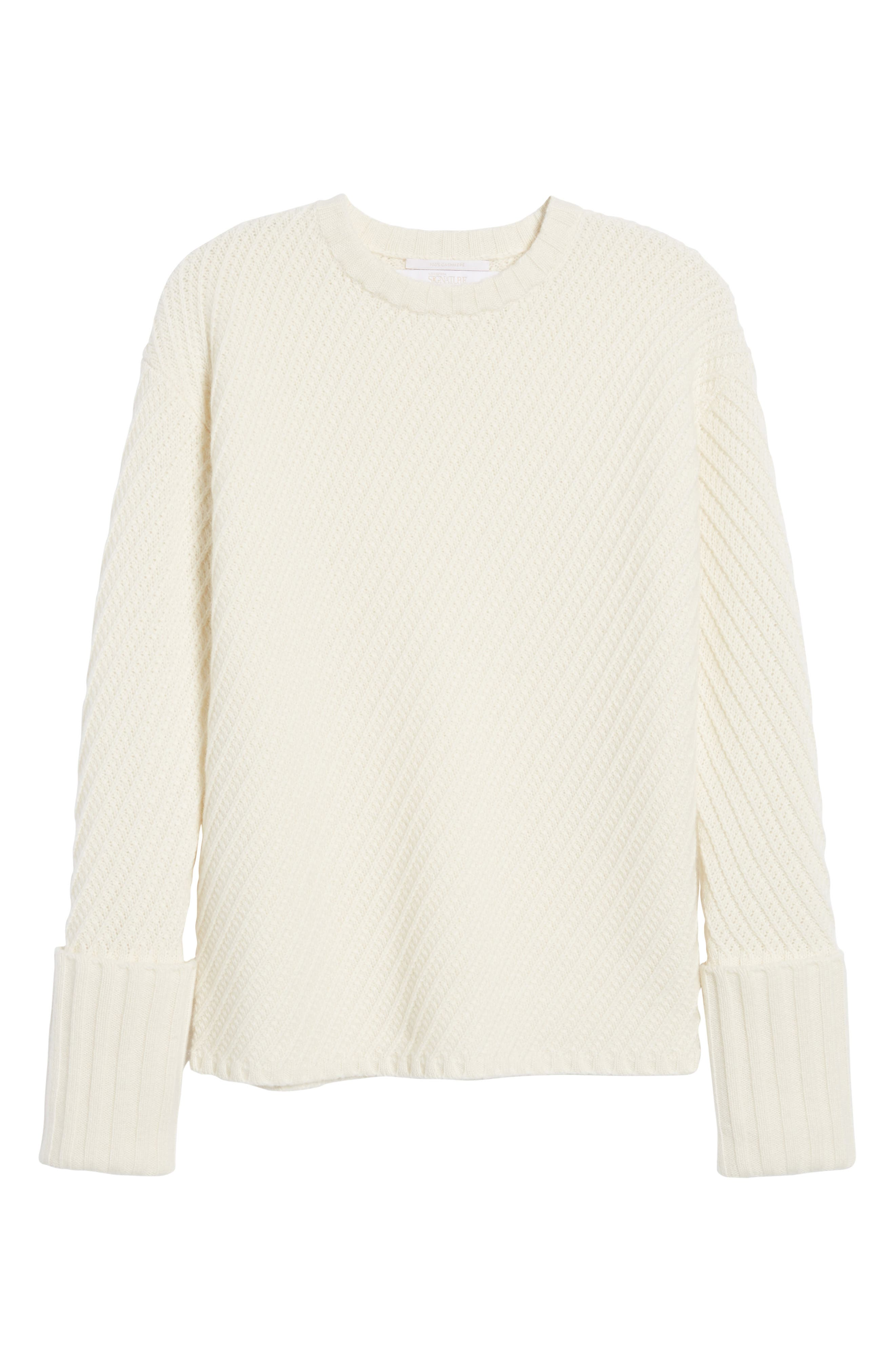 Textured Cashmere Sweater,                             Alternate thumbnail 6, color,                             Ivory Soft