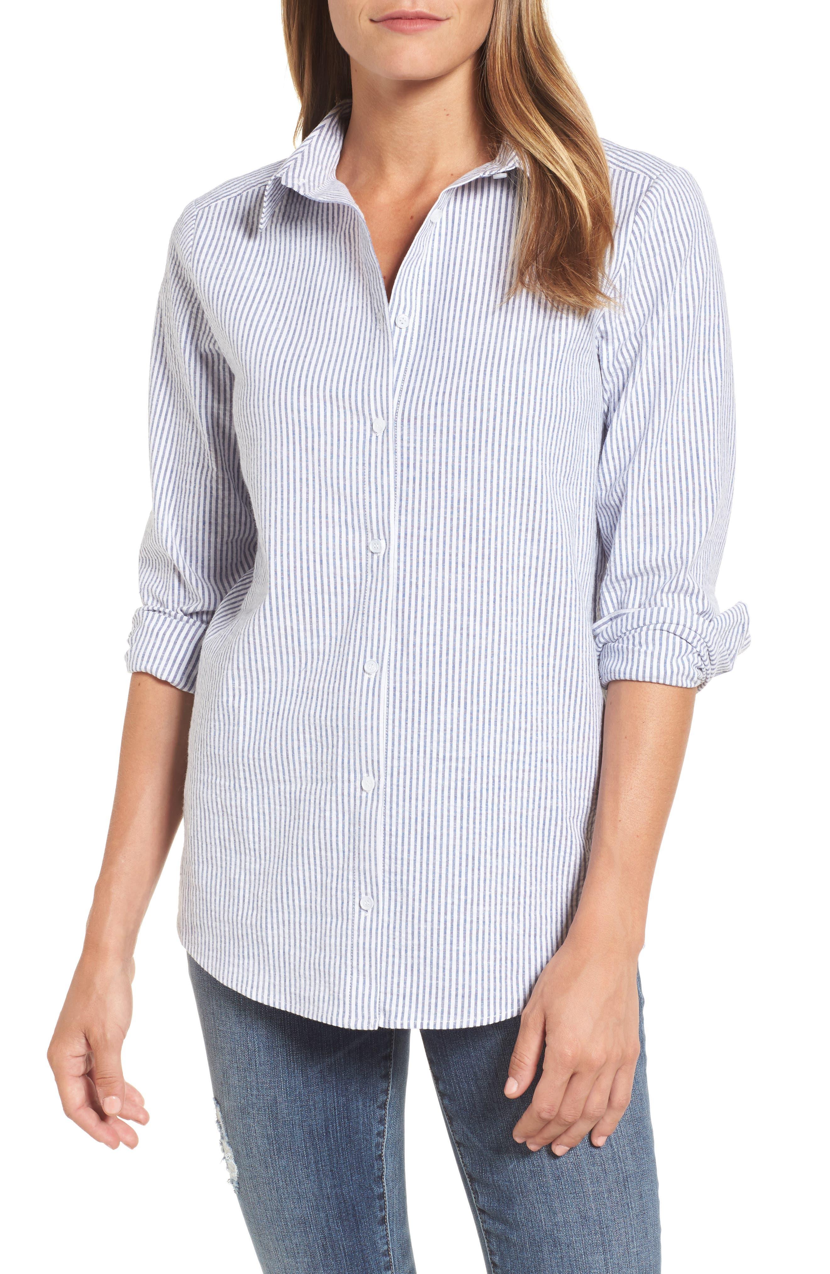 Caslon Button Front Shirt,                             Main thumbnail 1, color,                             Blue- White Seersucker