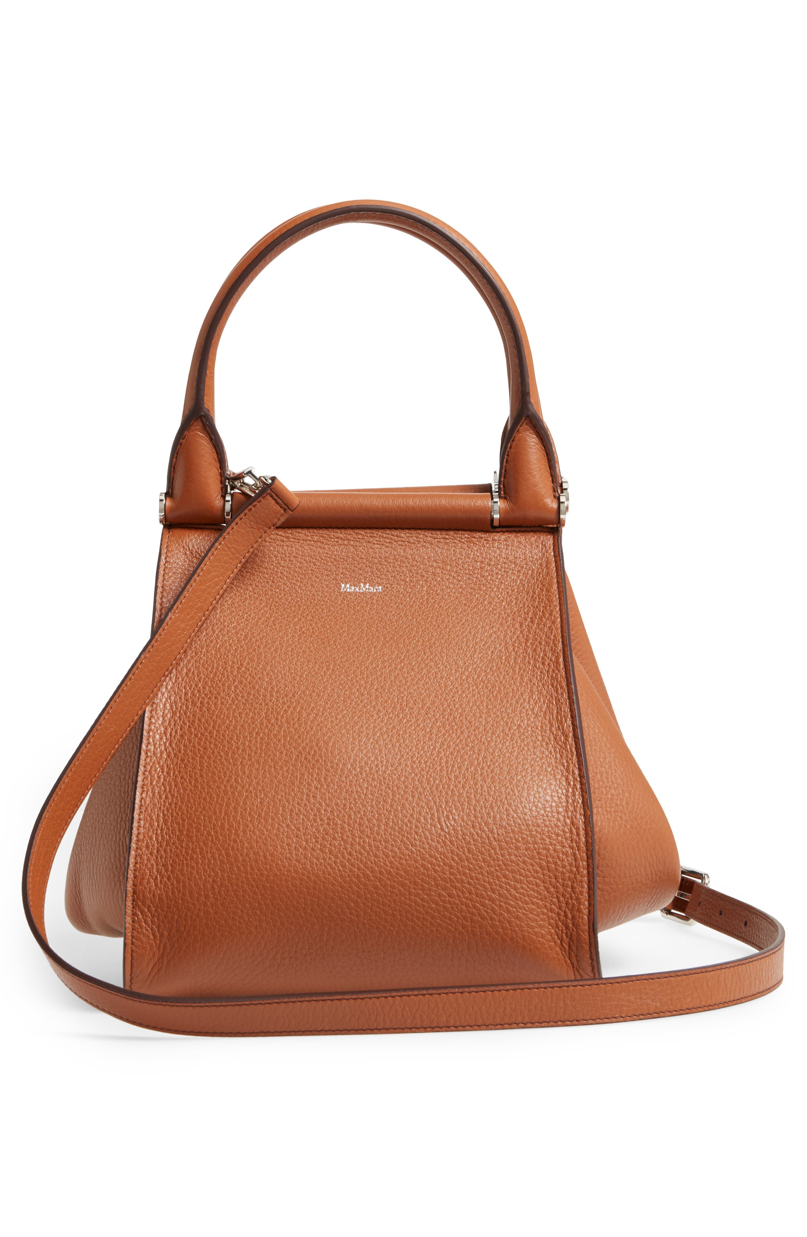 Deerskin Leather Satchel,                             Alternate thumbnail 3, color,                             Cuoio