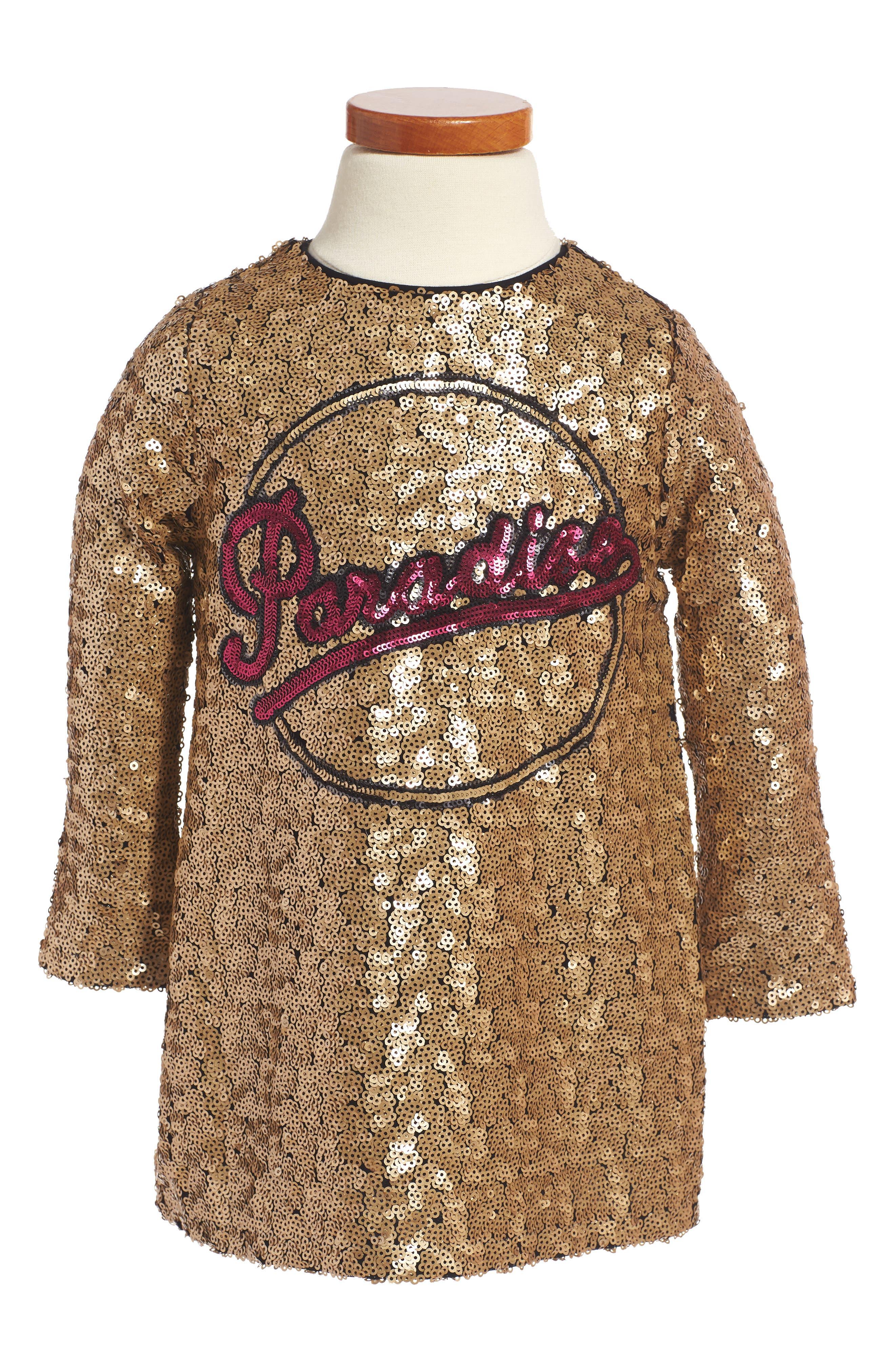 Main Image - LITTLE MARC JACOBS Paradise Sequin Shift Dress (Toddler Girls, Little Girls & Big Girls)