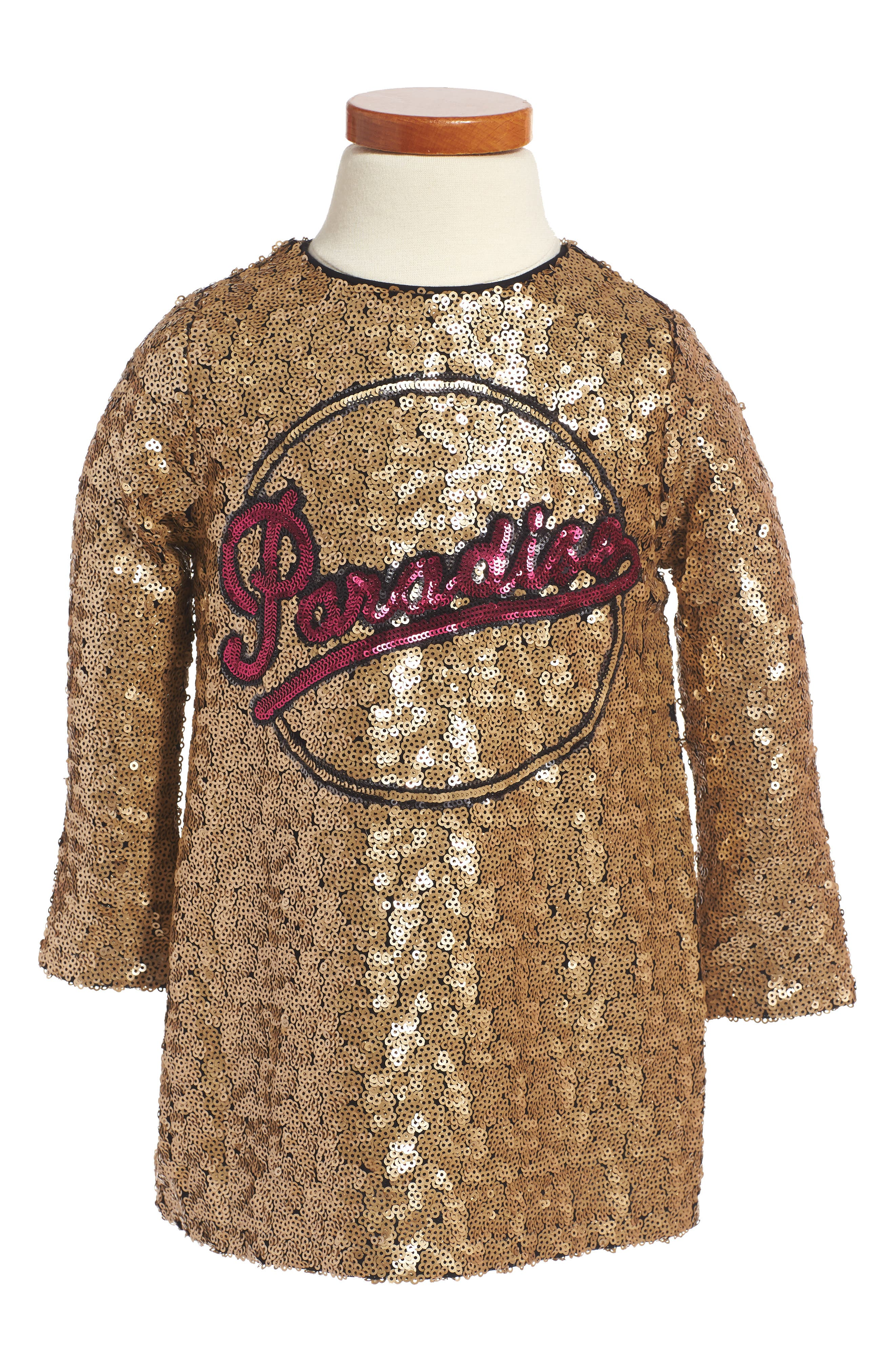 Paradise Sequin Shift Dress,                         Main,                         color, Gold Yellow