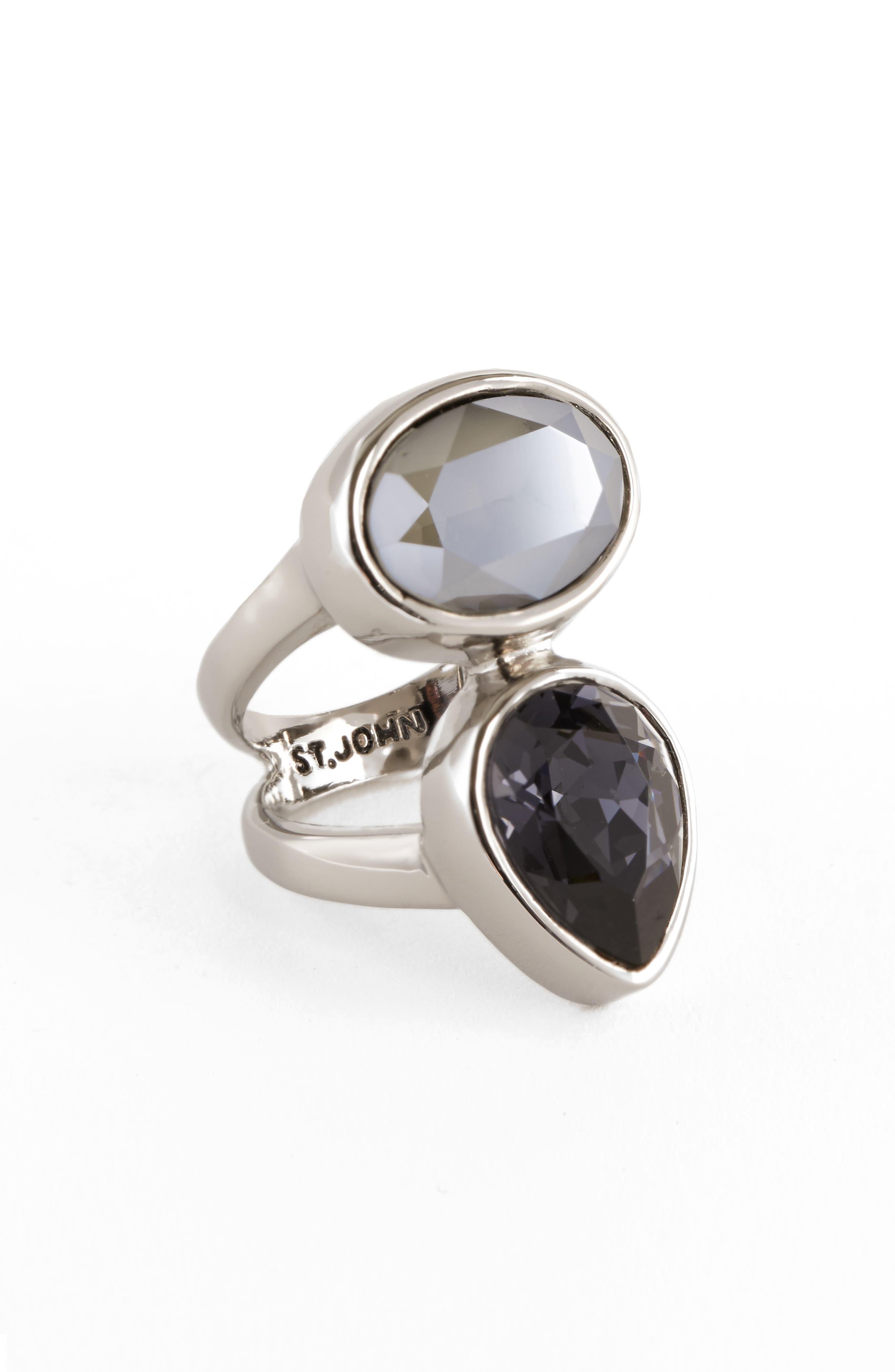 Swarovski Crystal Ring,                         Main,                         color, Ruthenium Graphite Grey