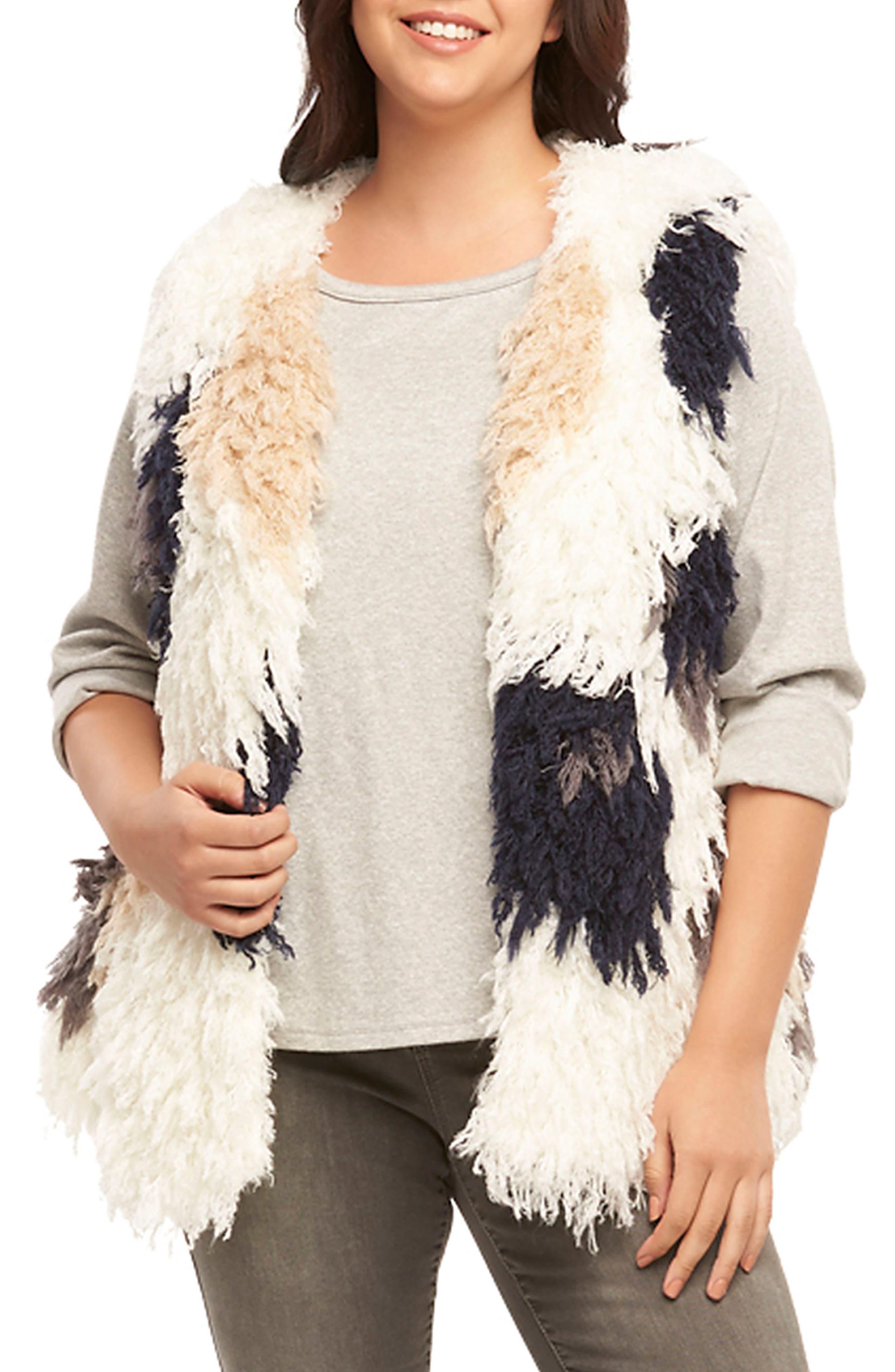 Mave Spot Shaggy Faux Fur Vest,                             Main thumbnail 1, color,                             Cream/ Navy