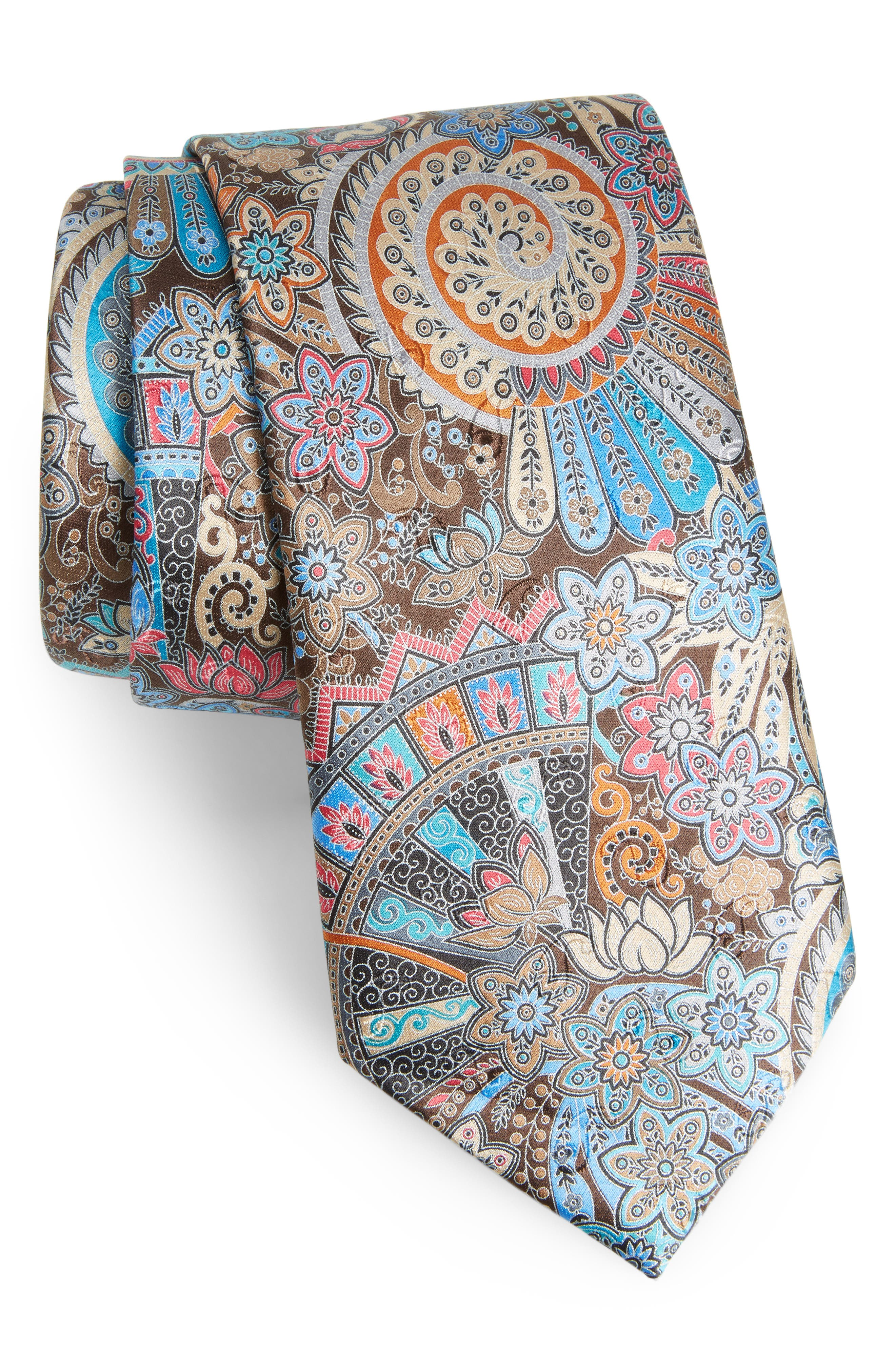 Quindici Paisley Silk Tie,                         Main,                         color, Brown