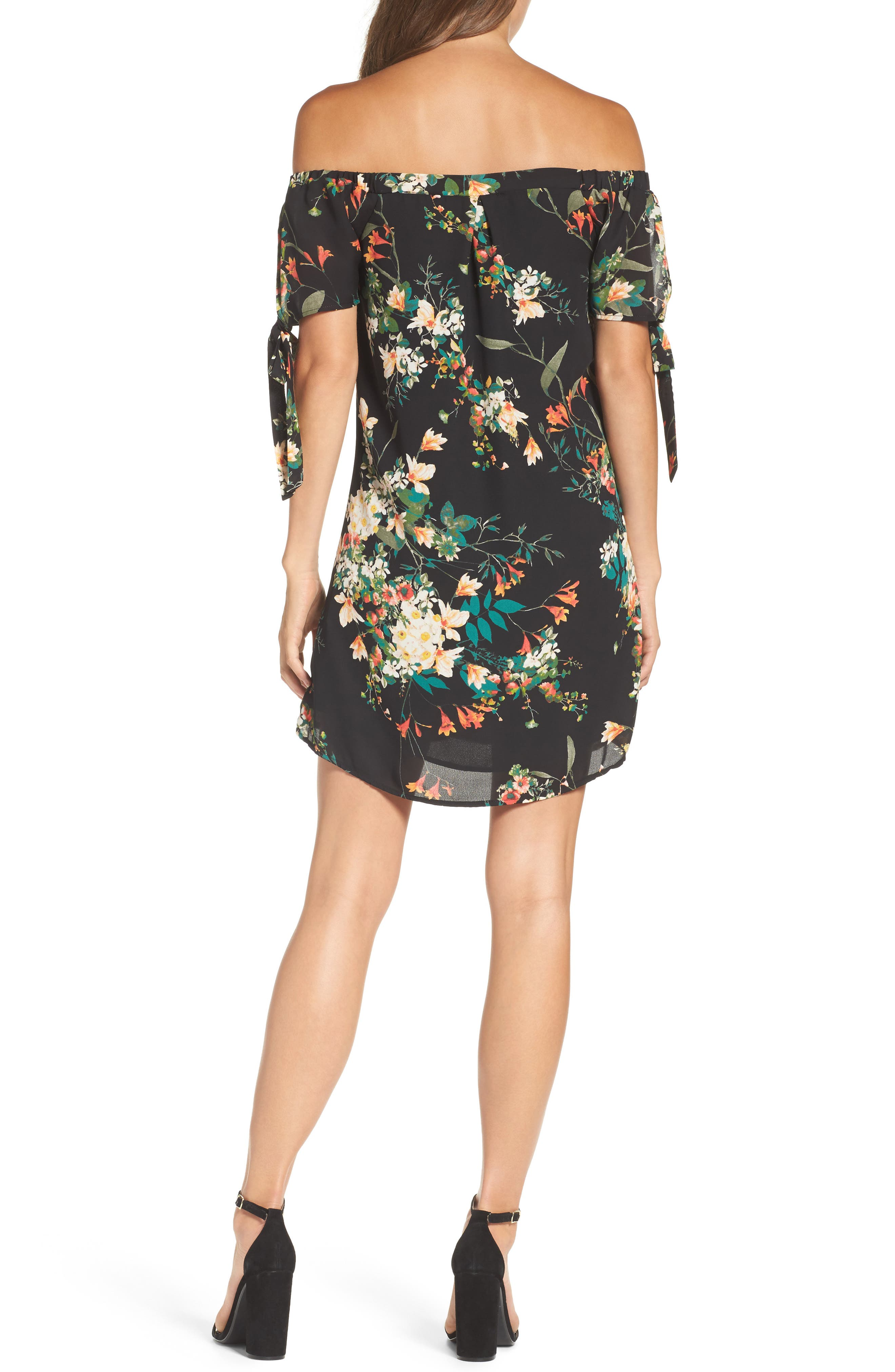 Tie Sleeve Off the Shoulder Dress,                             Alternate thumbnail 2, color,                             Fire Floral