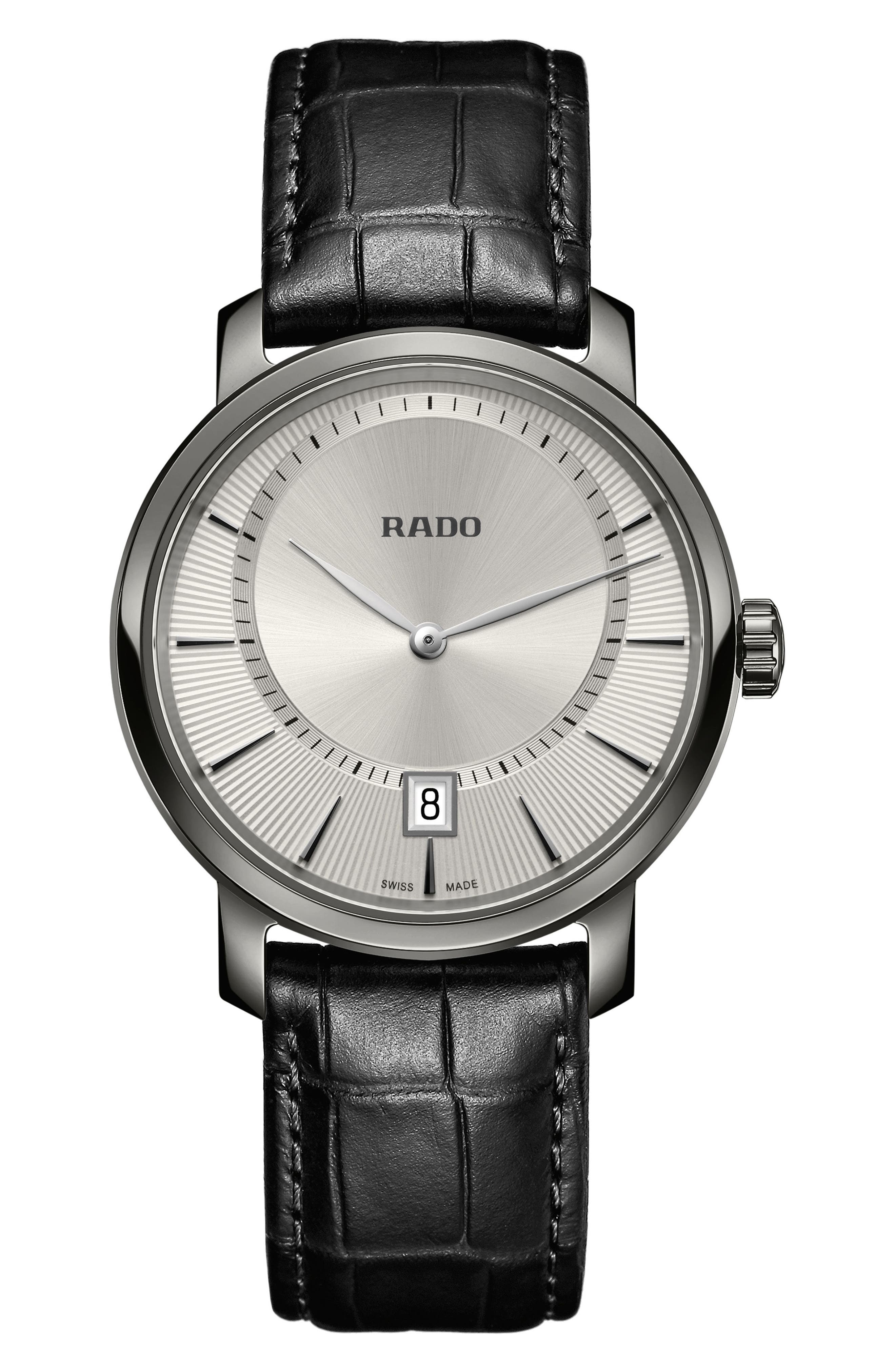 Alternate Image 1 Selected - RADO DiaMaster Leather Strap Watch, 40mm